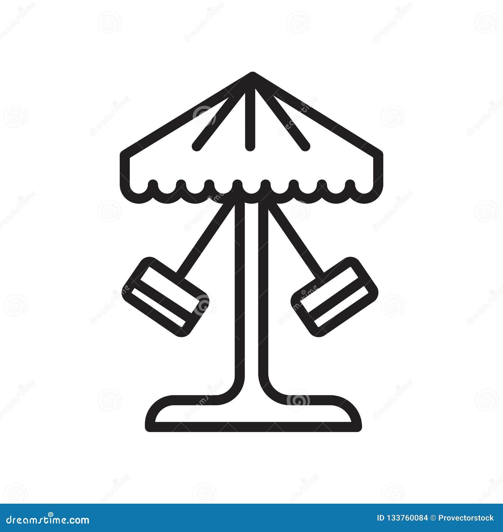 Tecken och symbol för karusellsymbolsvektor som isoleras på vit bakgrund, karuselllogobegrepp