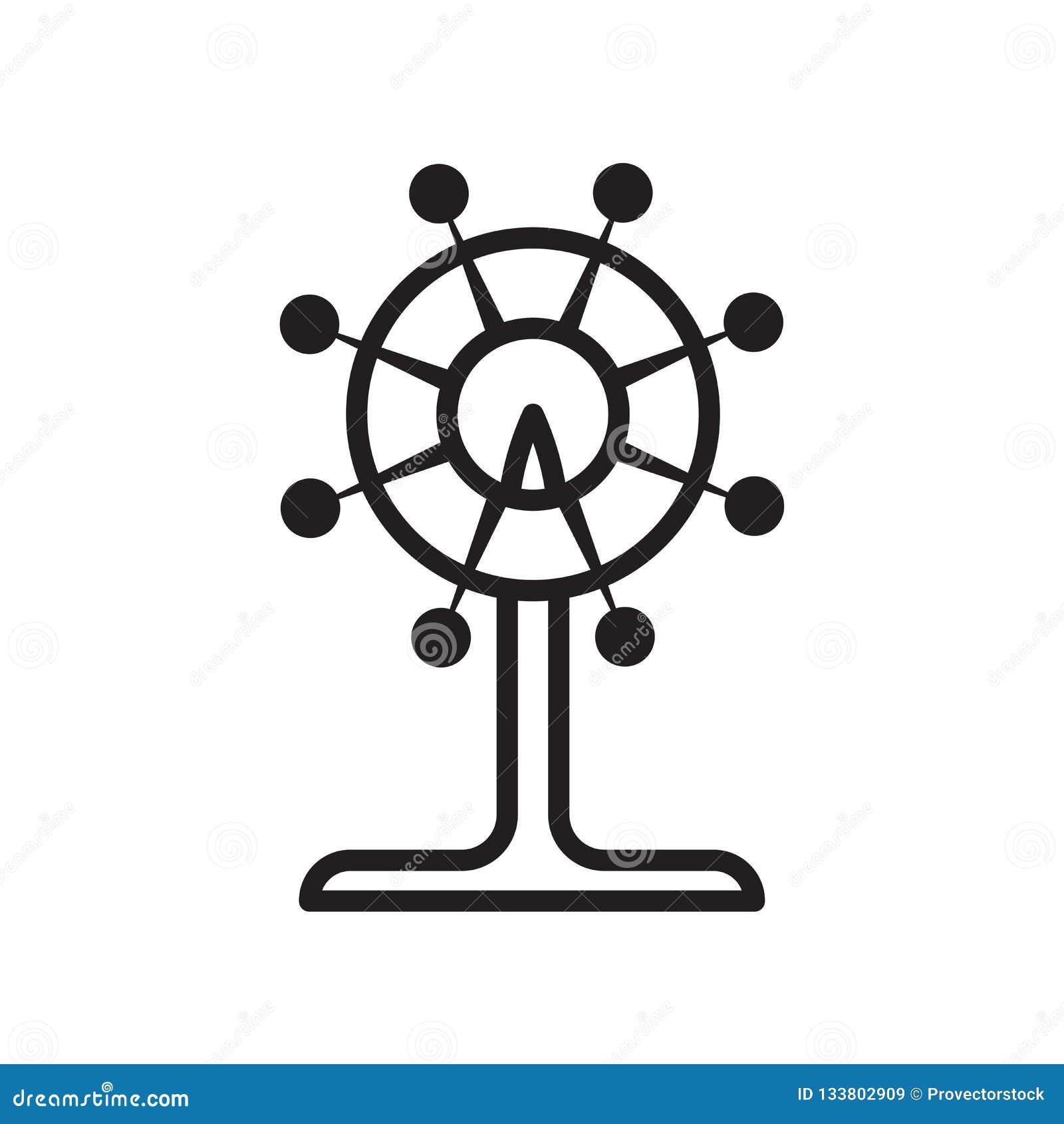 Tecken och symbol för pariserhjulsymbolsvektor som isoleras på vit backg