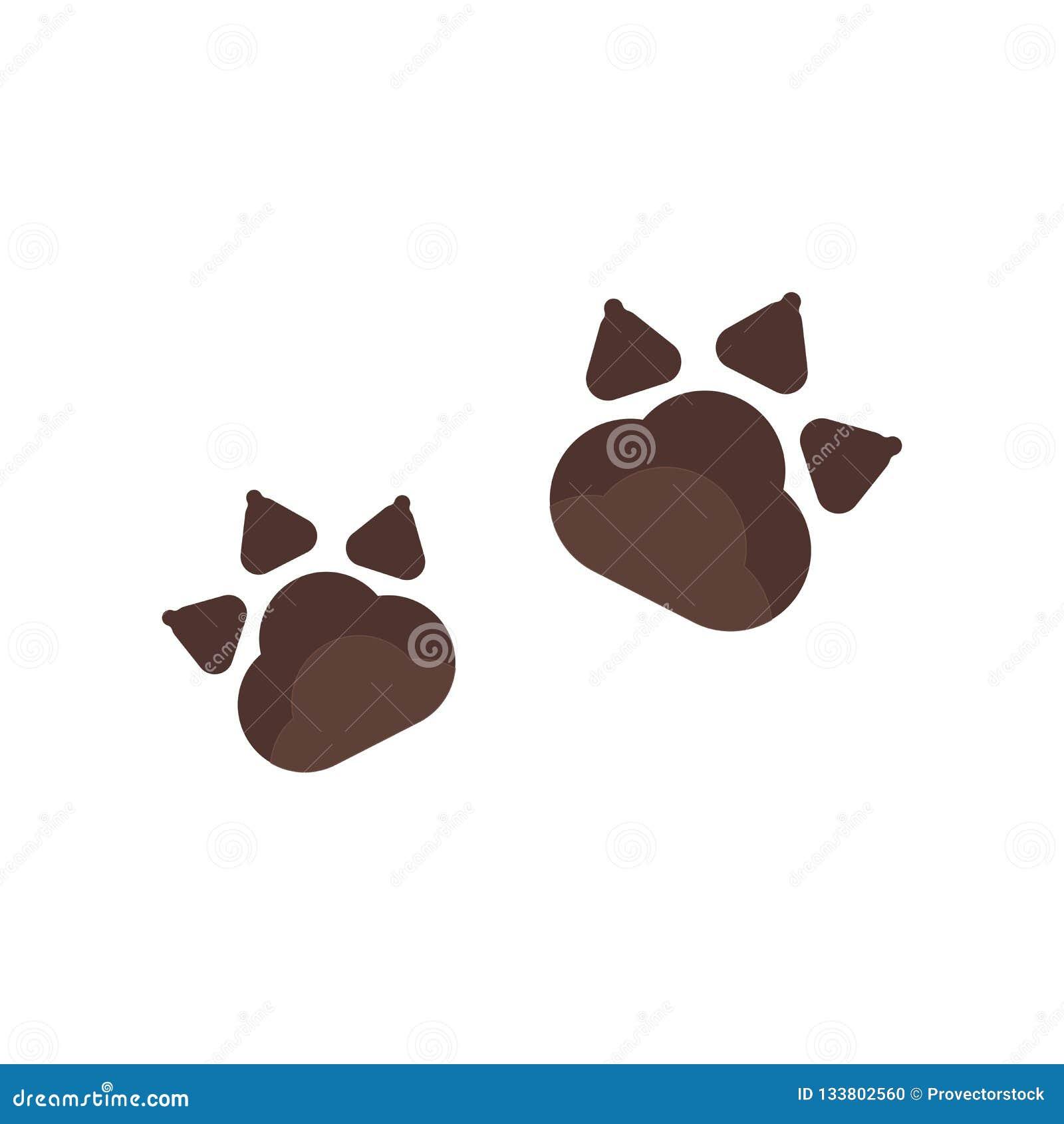 Tecken och symbol för Pawprints symbolsvektor som isoleras på den vita backgrouen