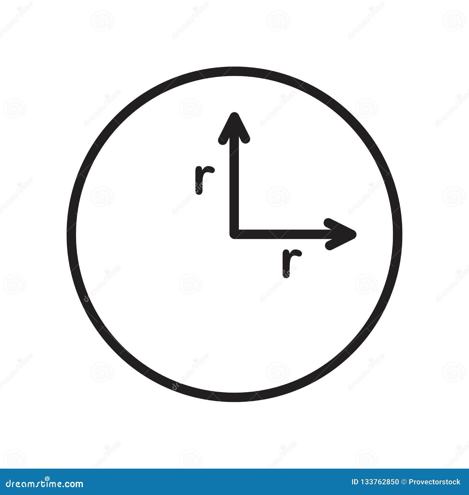 Tecken och symbol för radiesymbolsvektor som isoleras på vit bakgrund