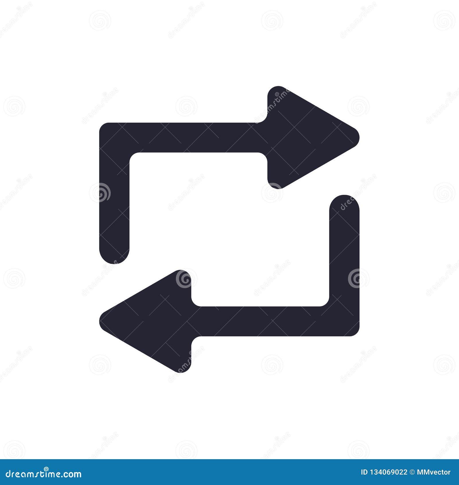 Tecken och symbol för repetitionsymbolsvektor som isoleras på vit bakgrund, repetitionlogobegrepp