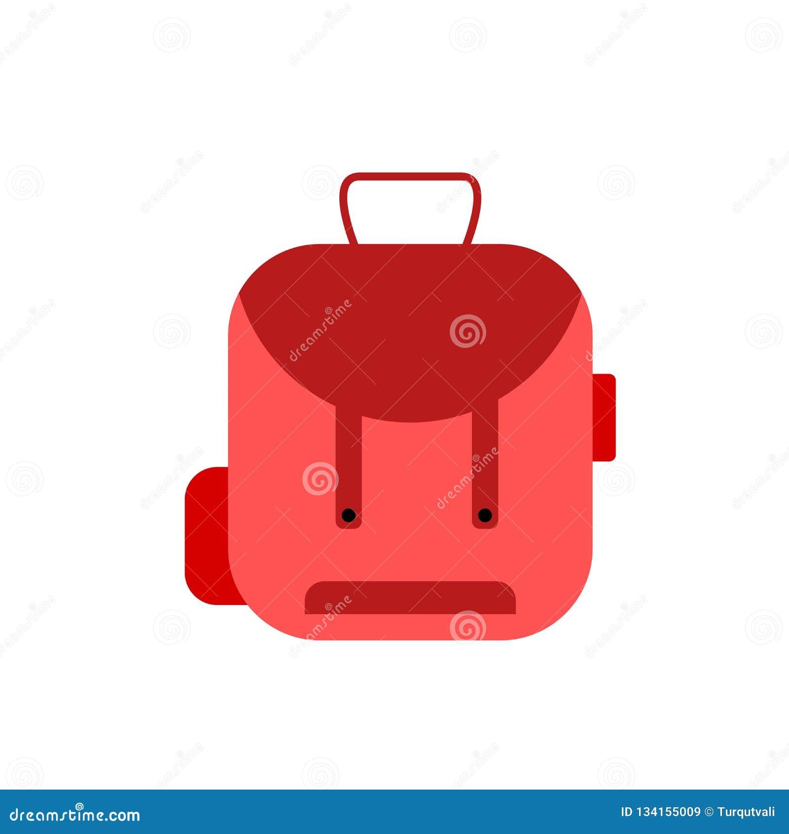 Tecken och symbol för ryggsäcksymbolsvektor som isoleras på vit bakgrund, ryggsäcklogobegrepp
