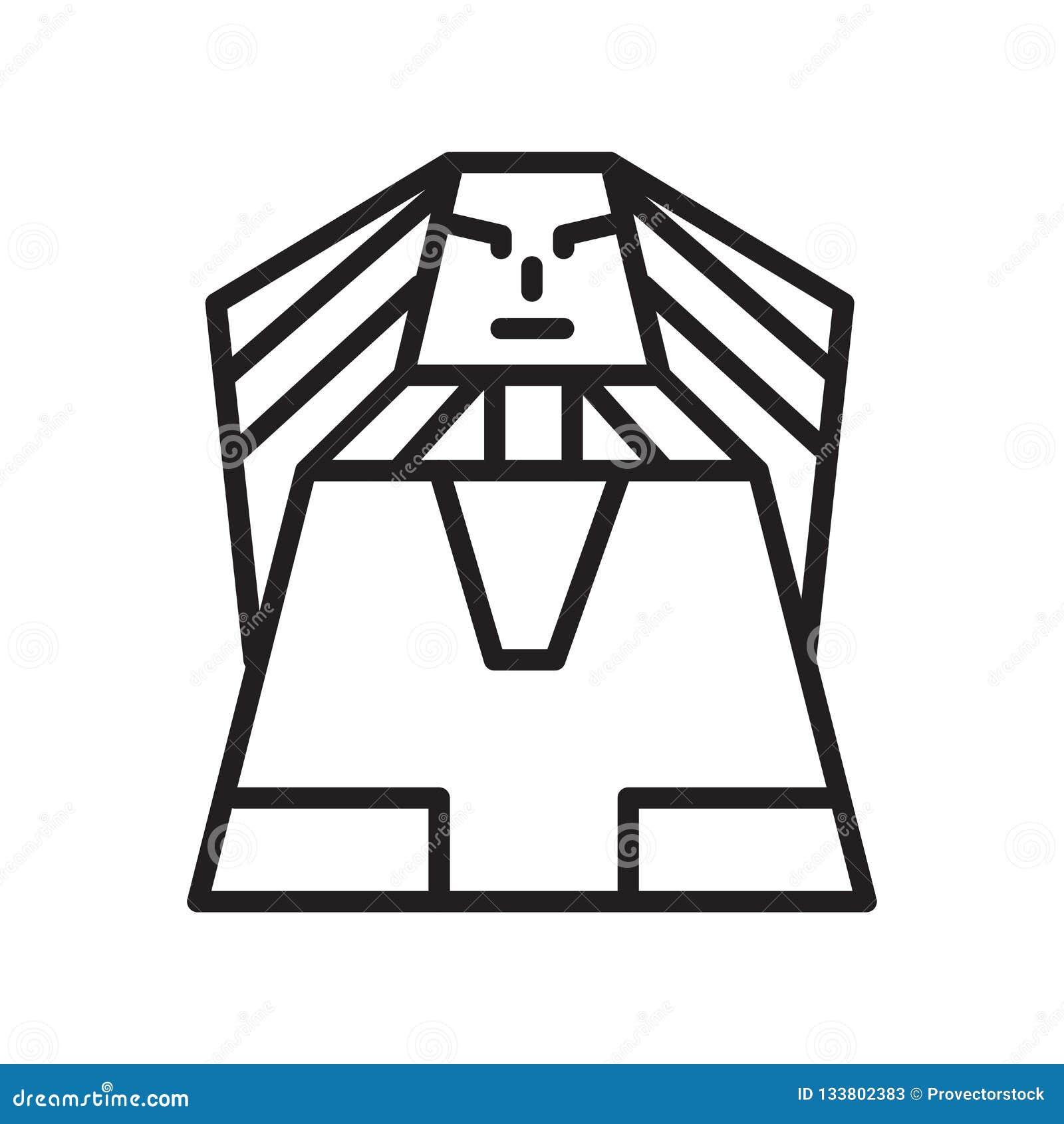 Tecken och symbol för sfinxsymbolsvektor som isoleras på vit bakgrund