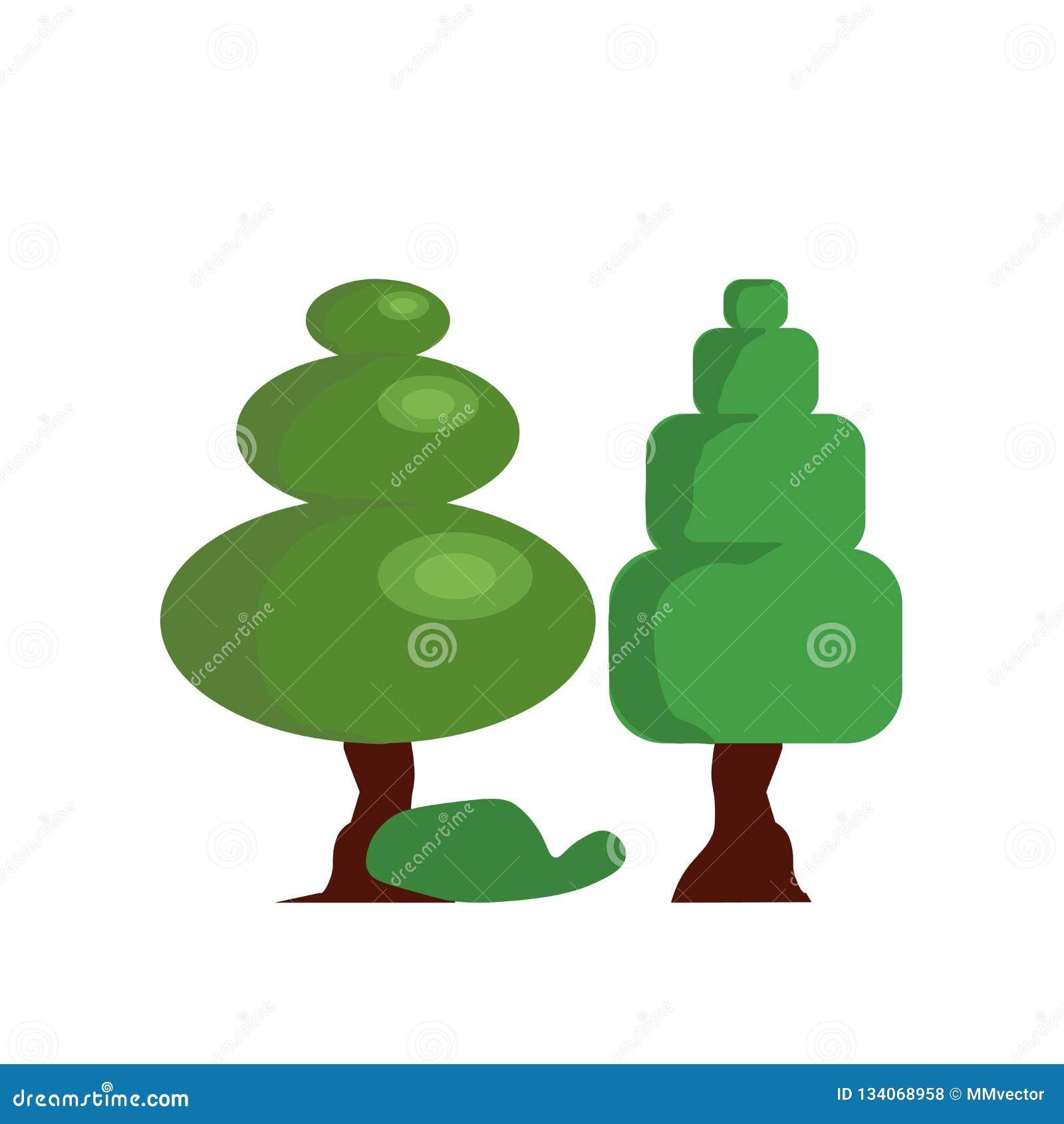 Tecken och symbol för skogsymbolsvektor som isoleras på vit bakgrund, skoglogobegrepp