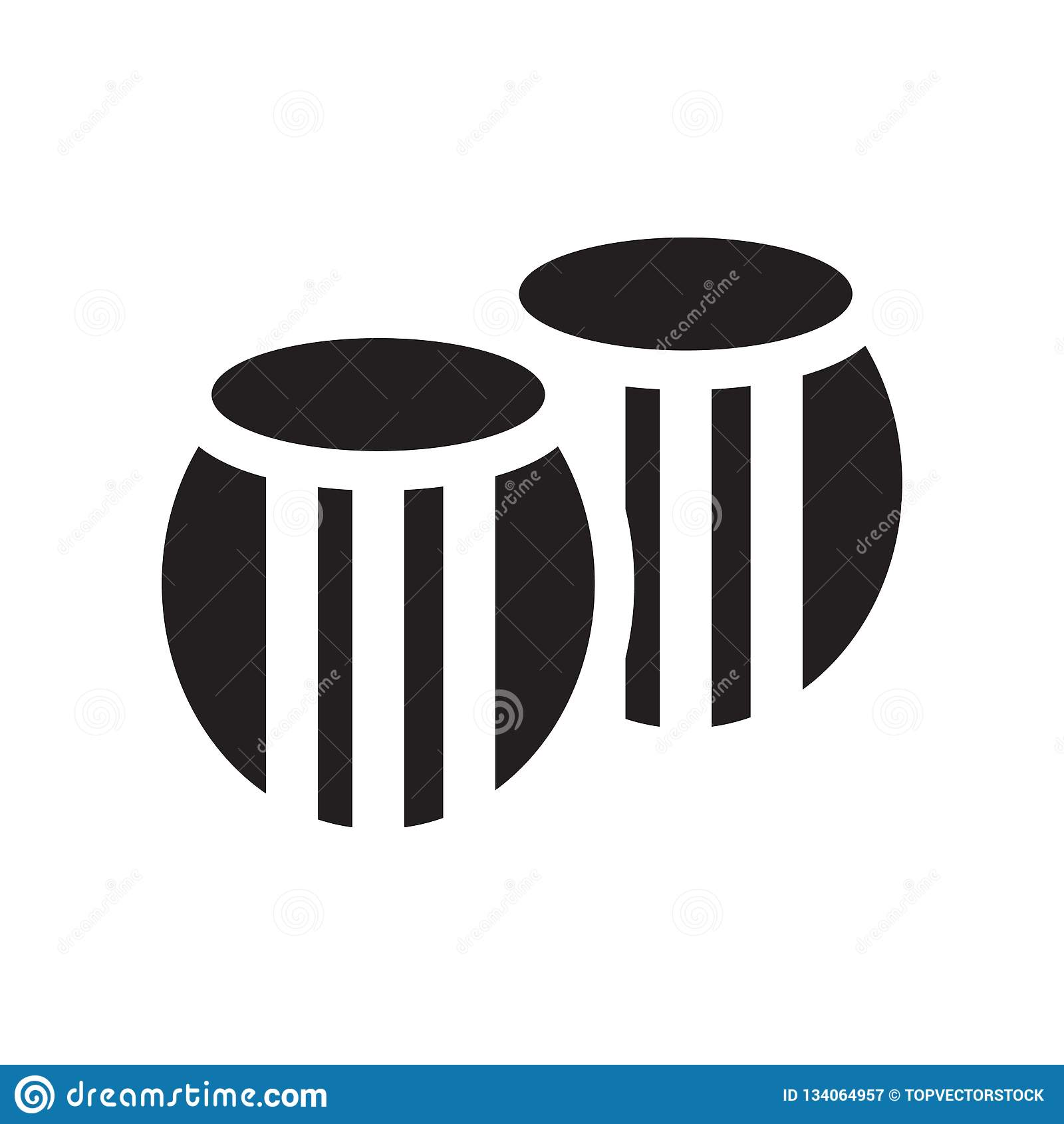 Tecken och symbol för trummasymbolsvektor som isoleras på vit bakgrund, trummalogobegrepp