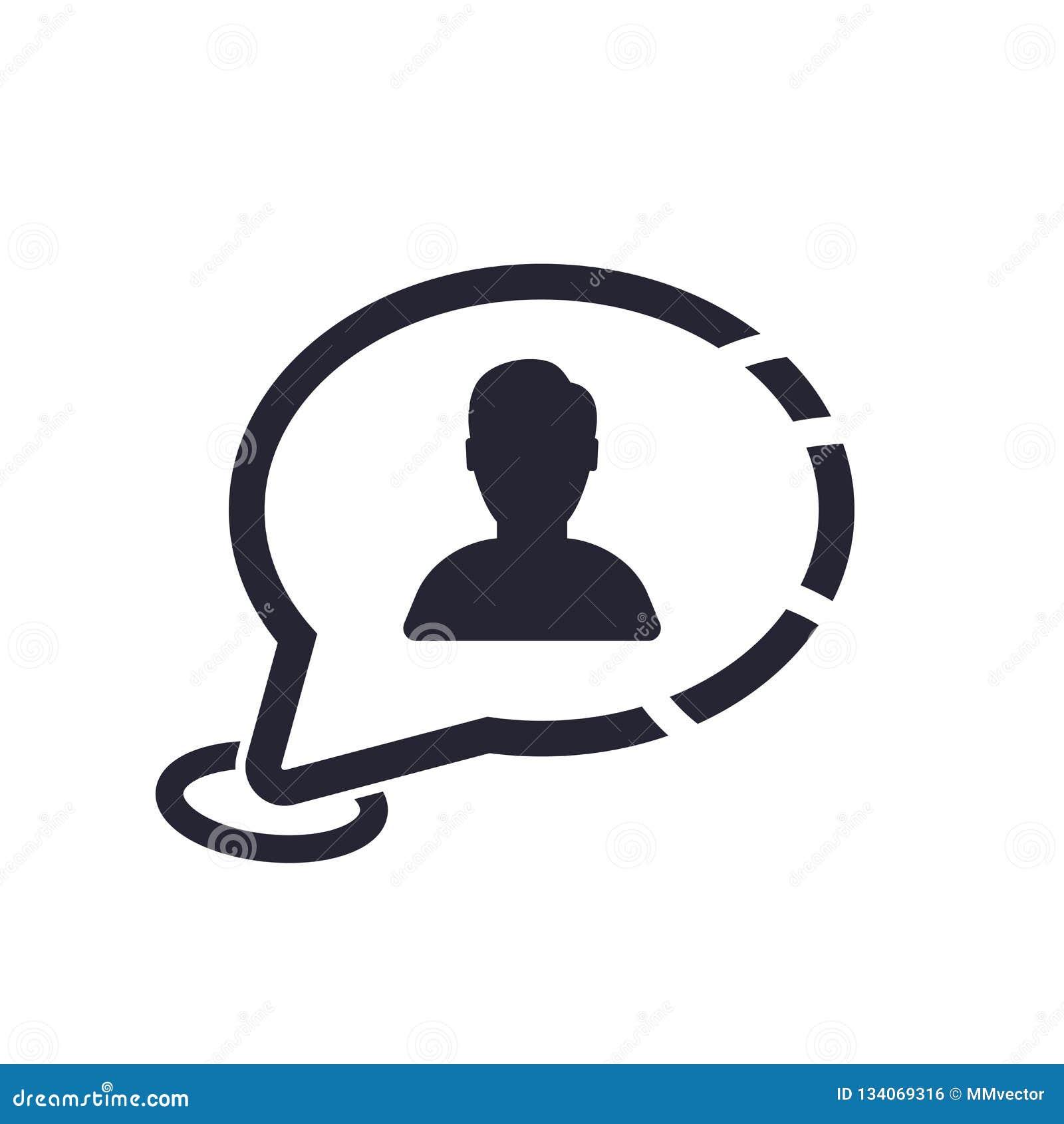 Tecken och symbol för vektor för anförandebubblasymbol som isoleras på vit bakgrund, begrepp för anförandebubblalogo
