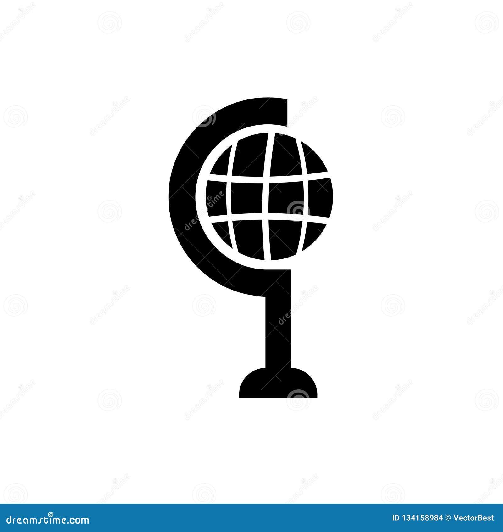 Tecken och symbol för vektor för skolajordklotsymbol som isoleras på vit bakgrund, begrepp för skolajordklotlogo
