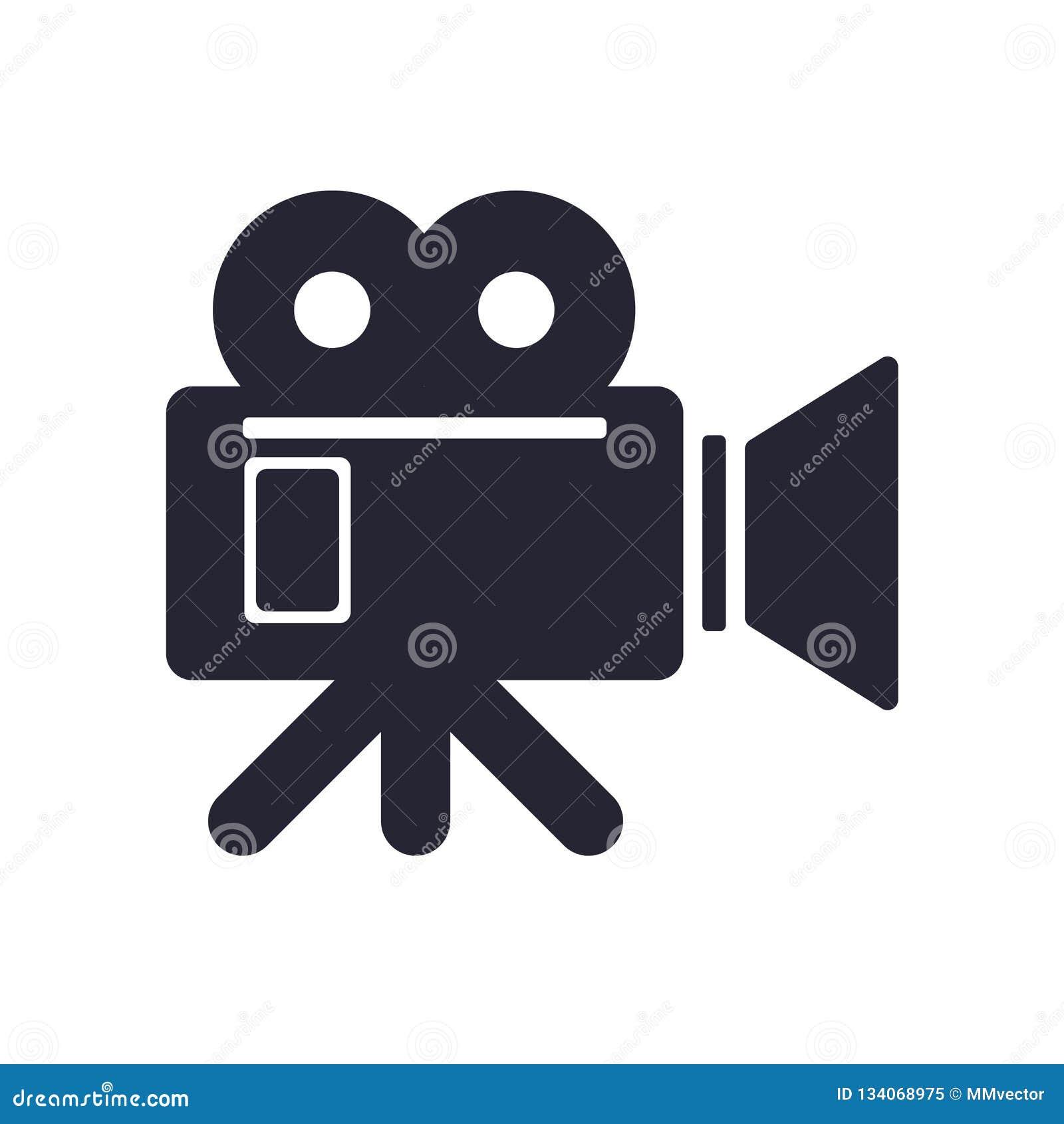Tecken och symbol för videokamerasymbolsvektor som isoleras på vit bakgrund, videokameralogobegrepp