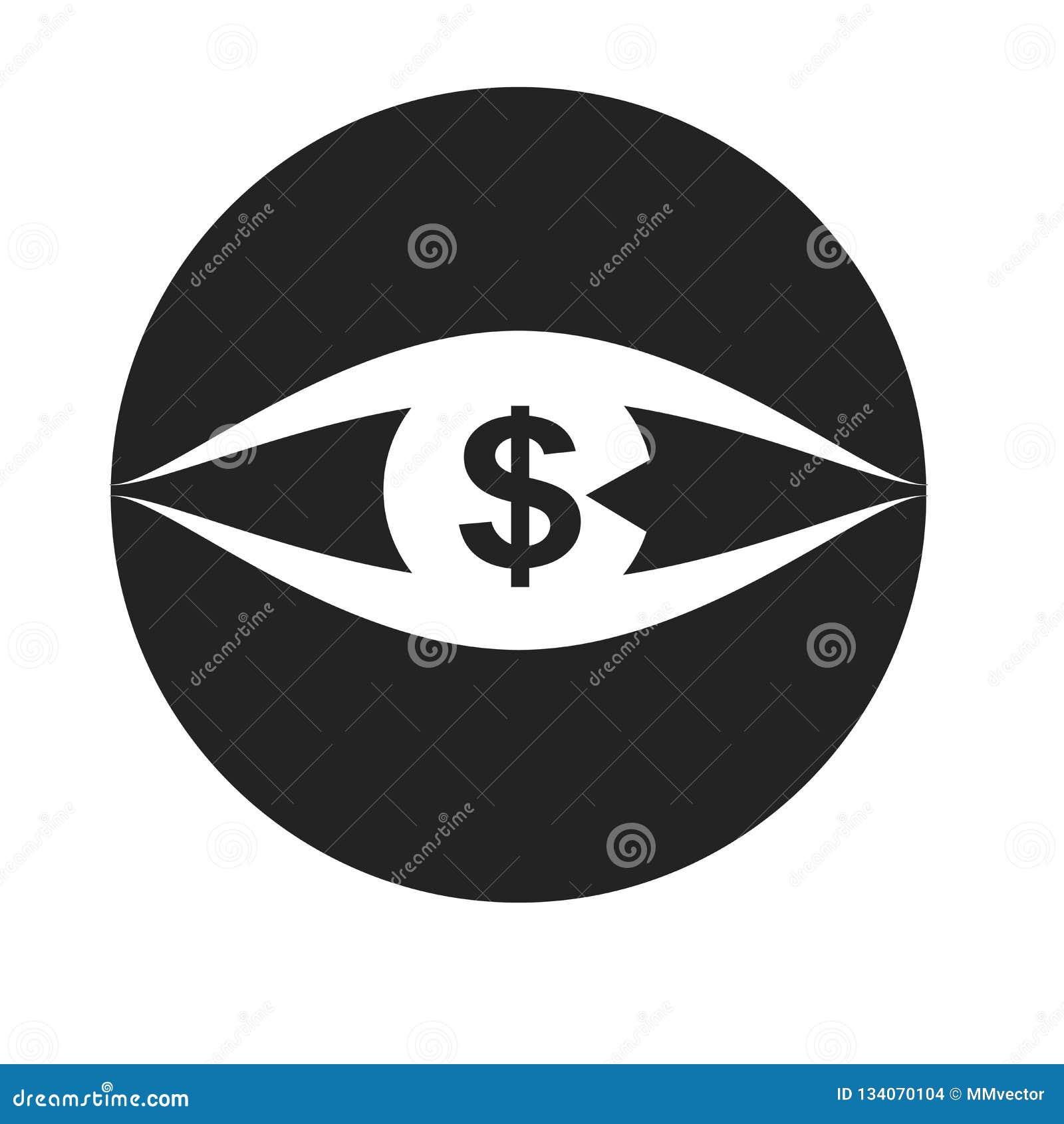 Tecken och symbol för visionsymbolsvektor som isoleras på vit bakgrund, visionlogobegrepp