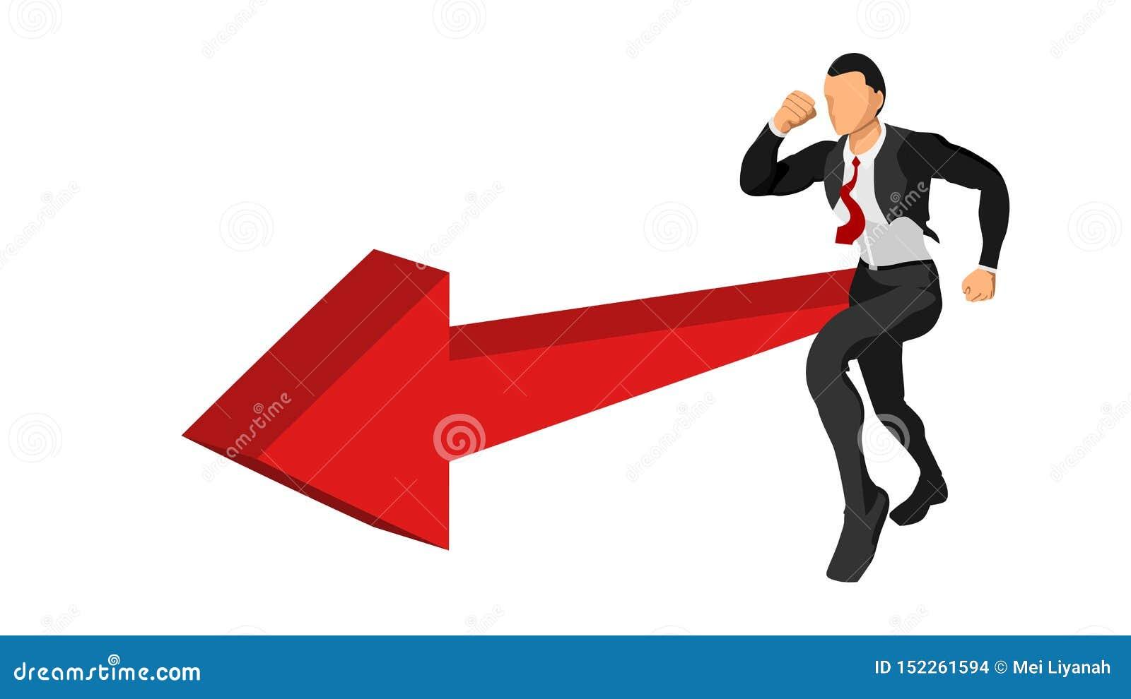 Teckenet av affärsmannen kör skyndsamt med riktningen av riktningen