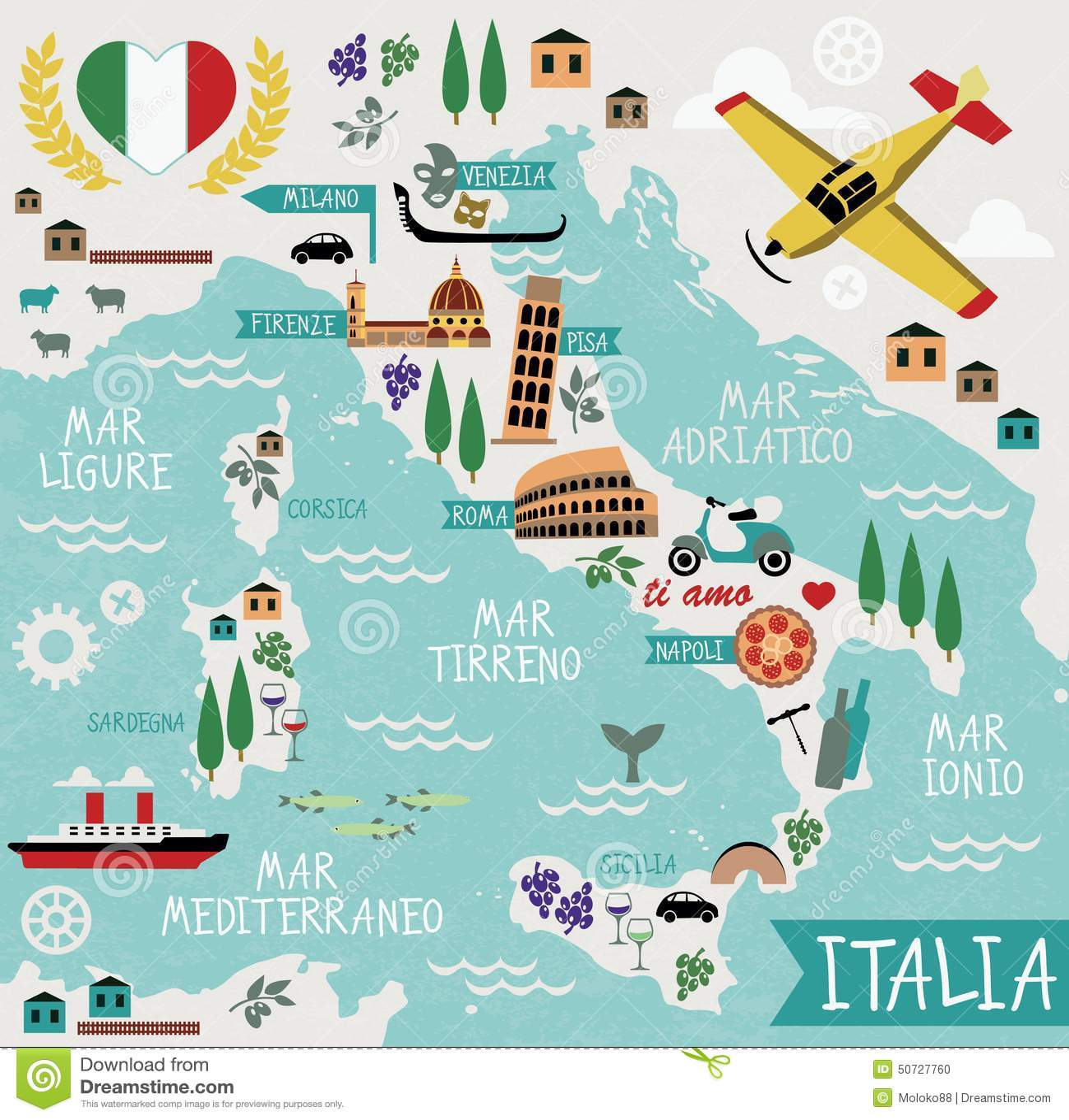 Tecknad filmöversikt av Italien