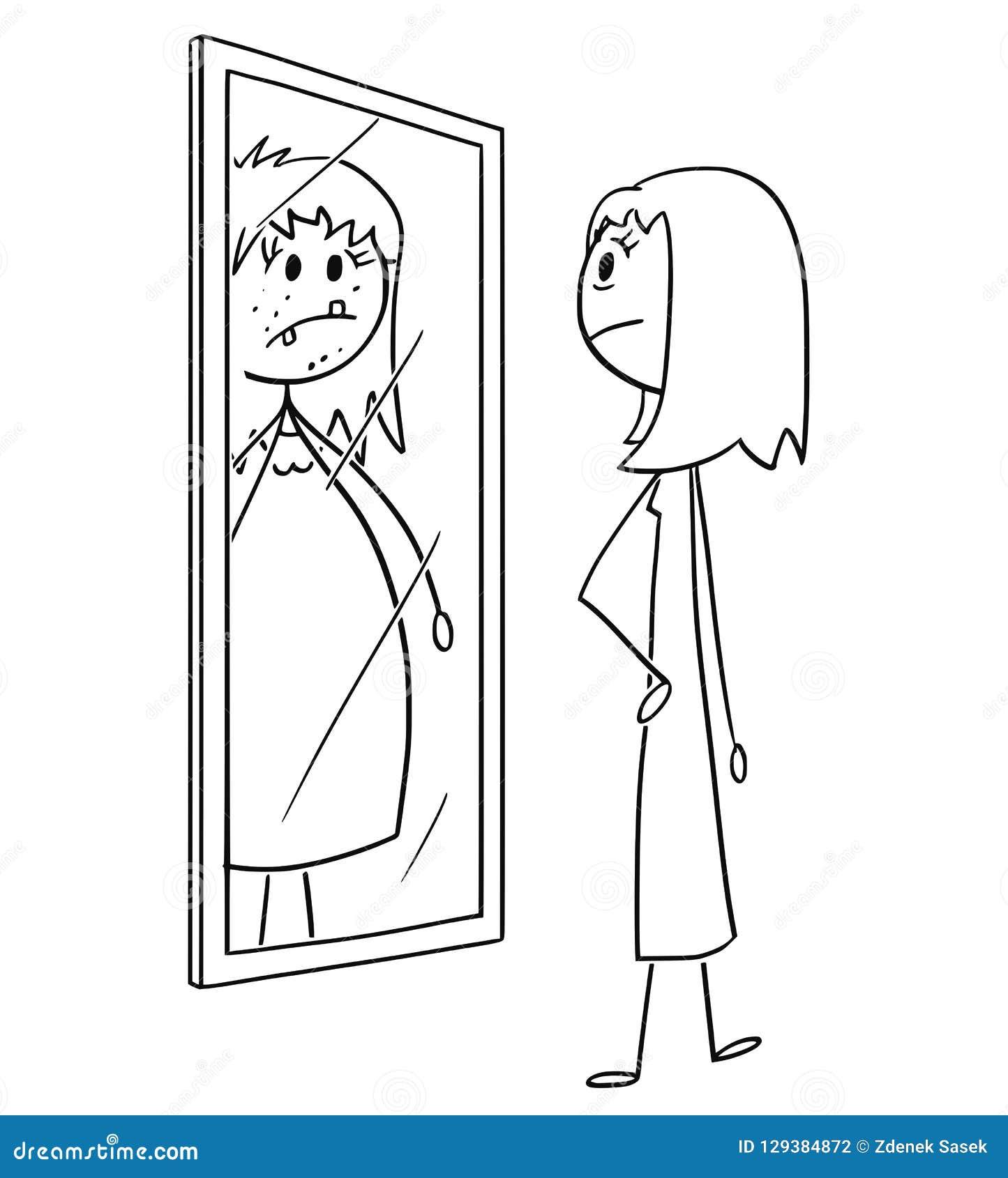Tecknad film av vanliga Nice och slank kvinna eller flicka som ser henne på spegeln och ser sig som är ful som är fet och som är