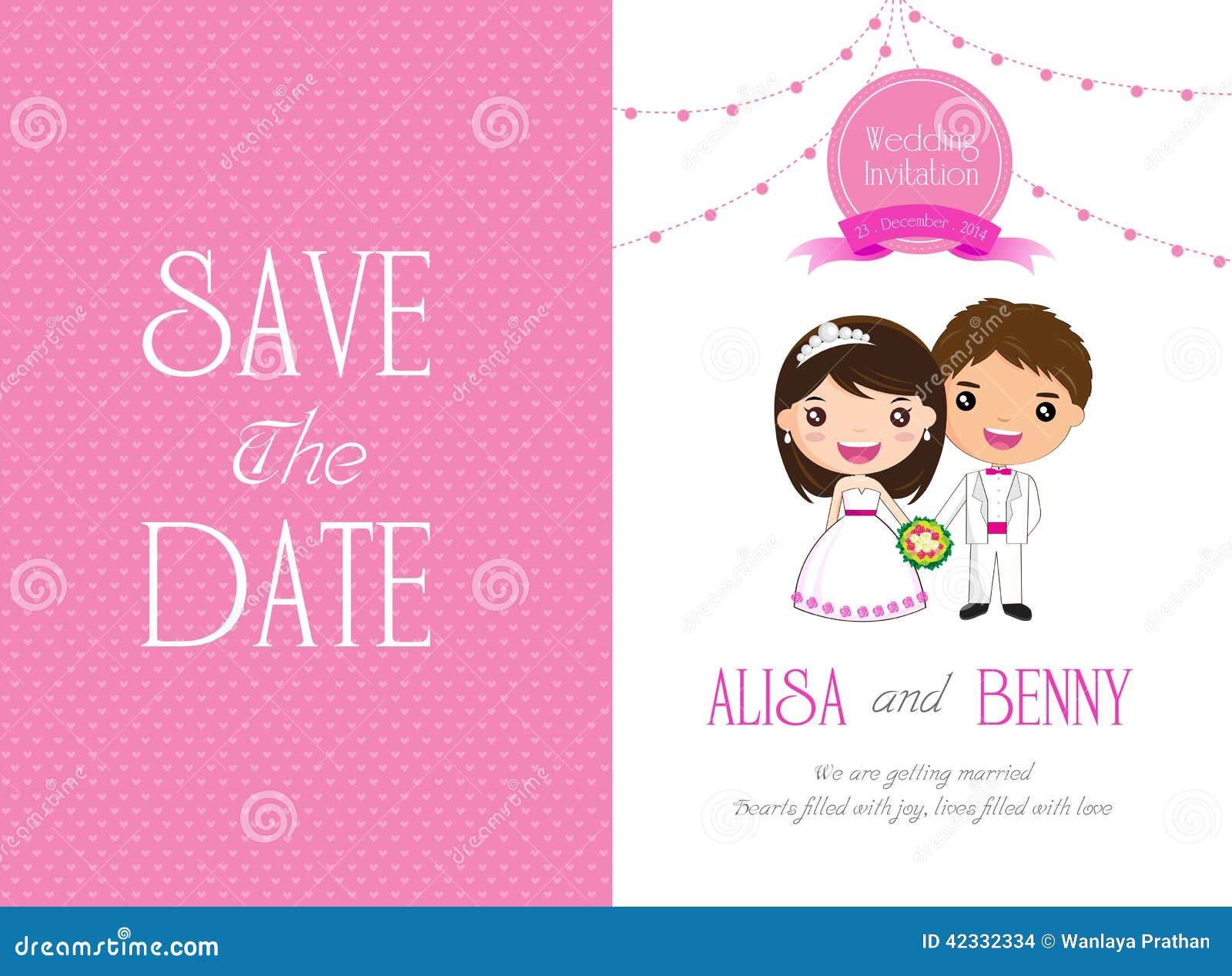 Tecknad film för kort för bröllopinbjudanmall