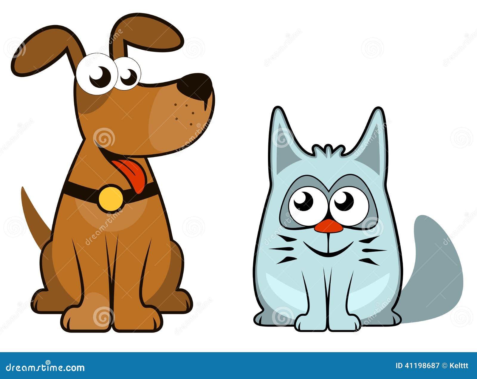 Tecknad film isolerad hund och katt vektor illustrationer for Gatto clipart