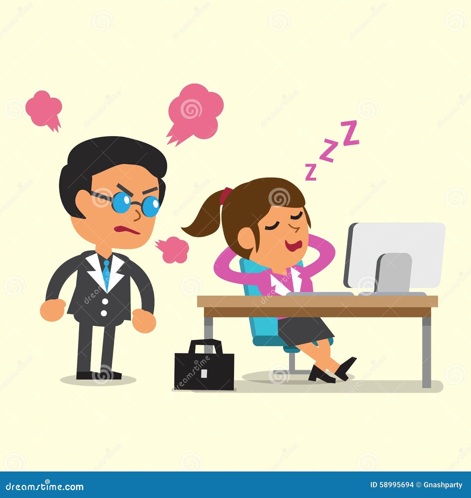 Tecknad filmaffärskvinna som sovande faller i hennes kontor