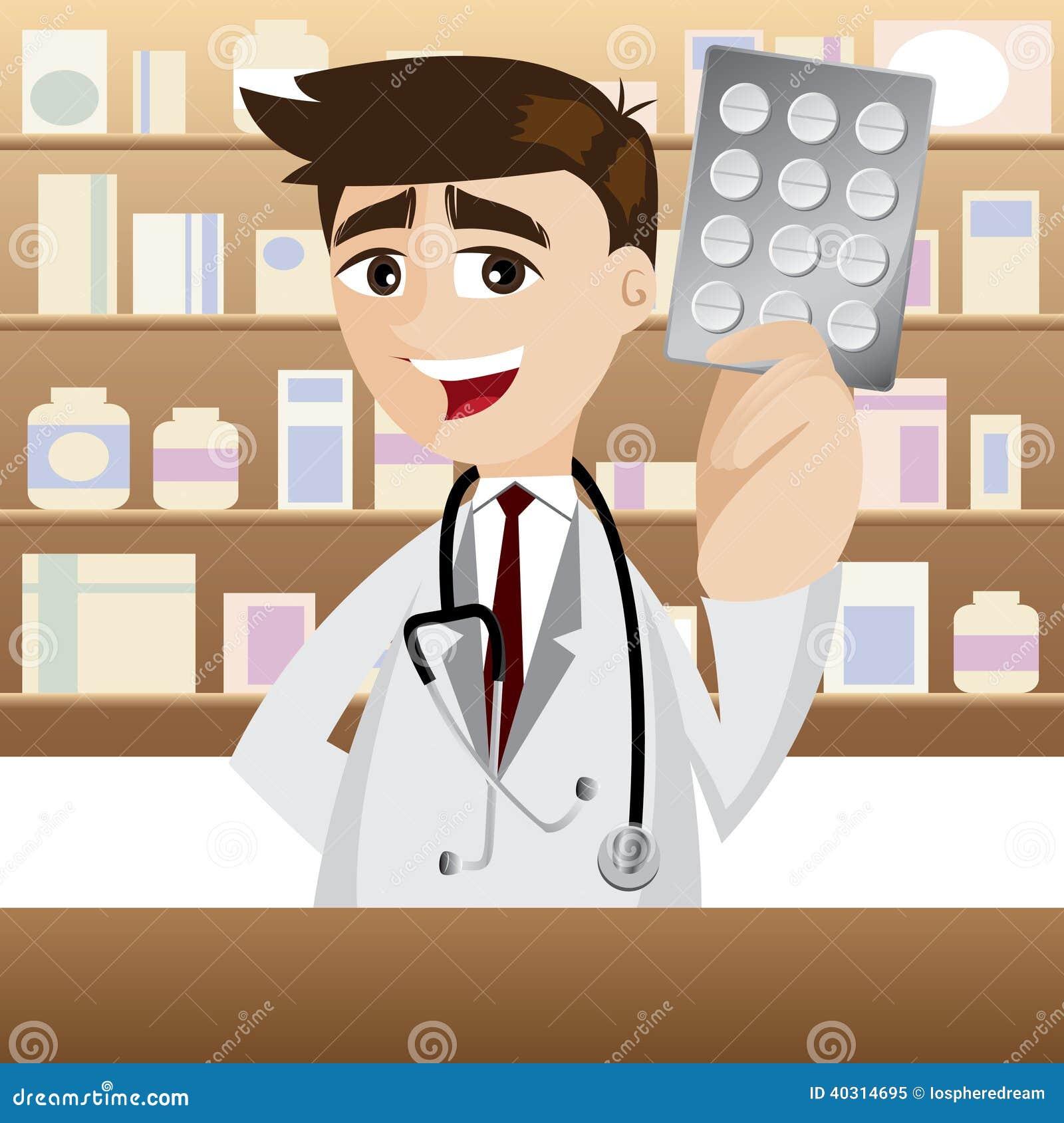 Tecknad filmapotekare med packen av medicin