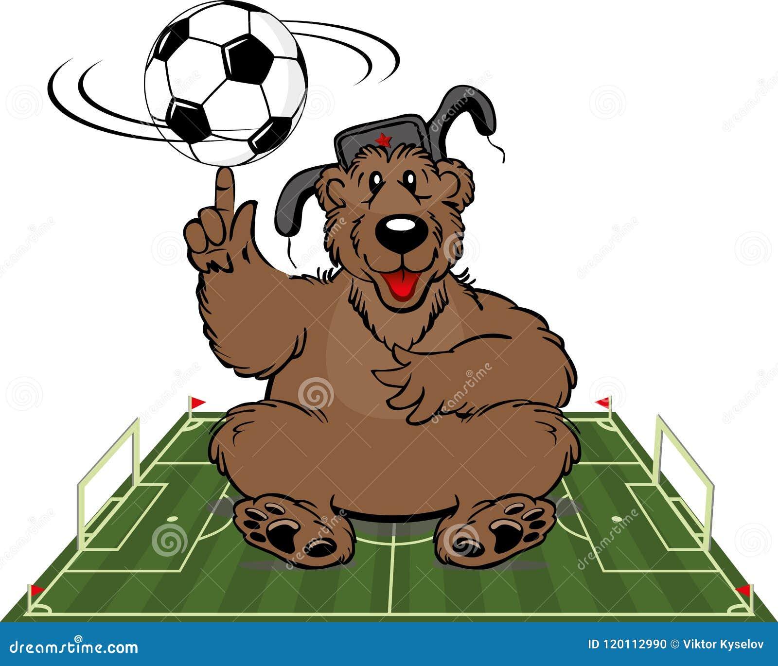 Tecknad filmbjörn med fotbollbollen