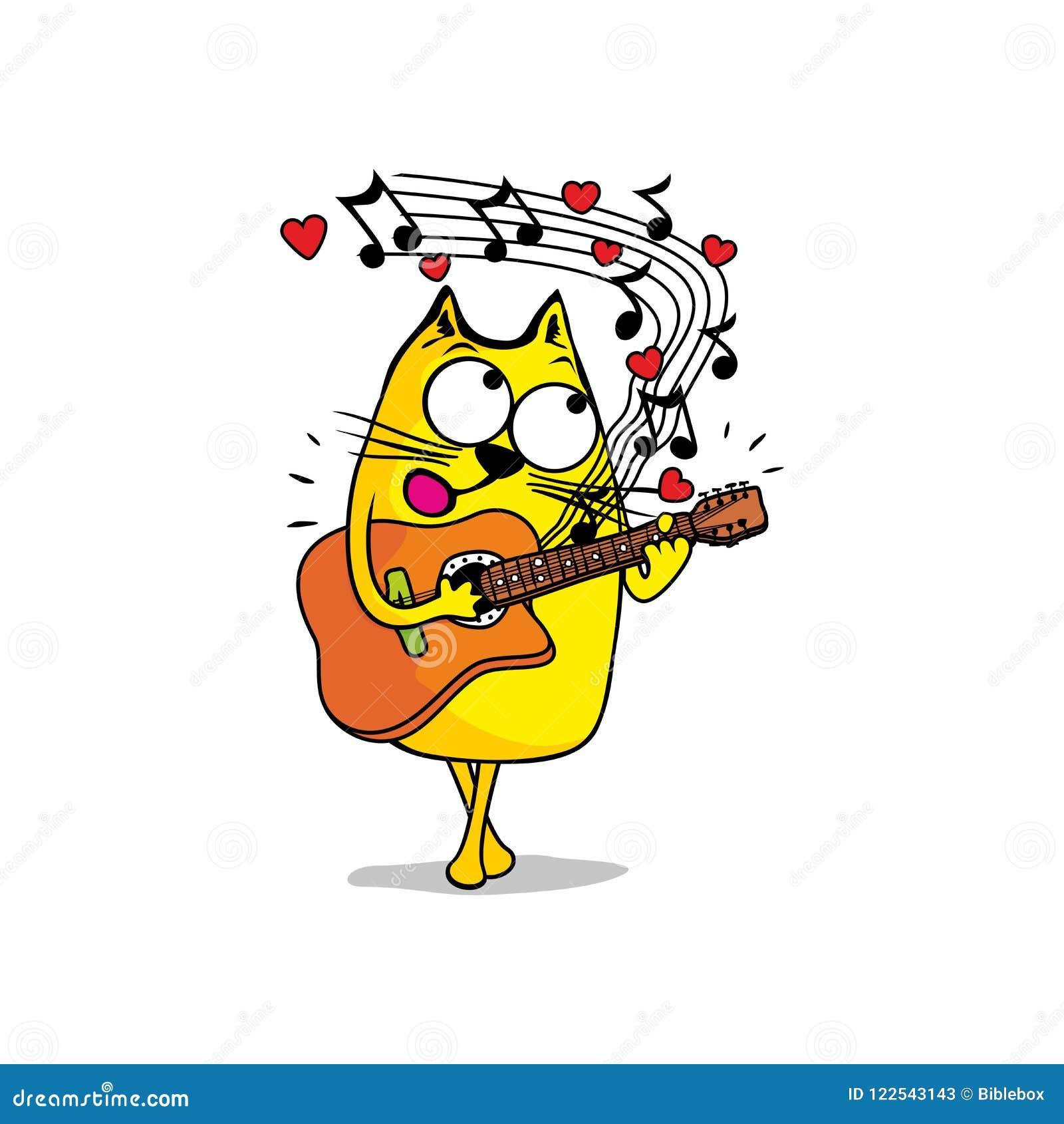 Tecknad filmcommandertryckspruta hans illustrationsoldatstopwatch Katten sjunger en förälskelseserenad