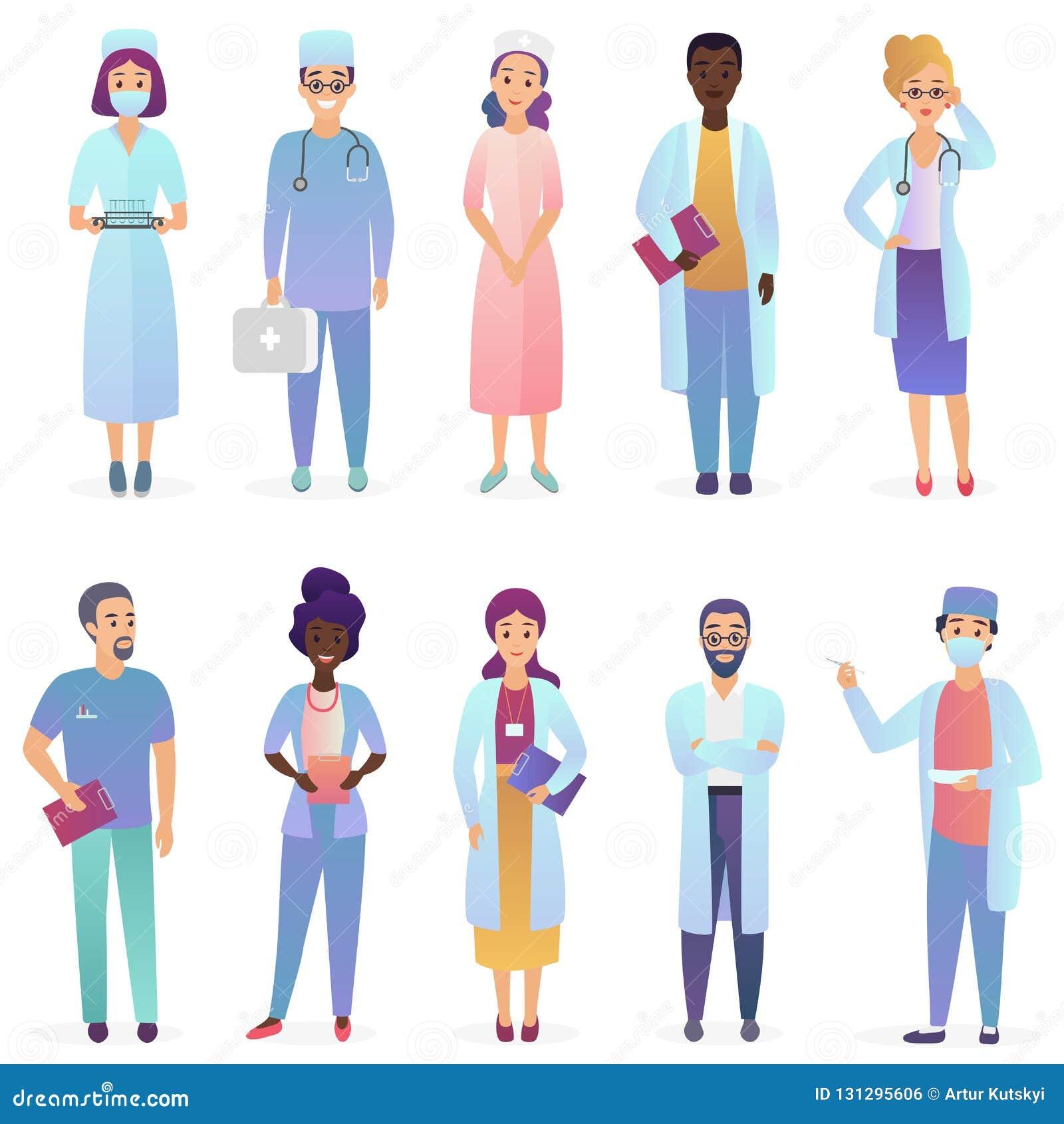 Tecknad filmdoktorer Lag för medicinska arbetare Uppsättningen för sjukhuspersonalen isolerade