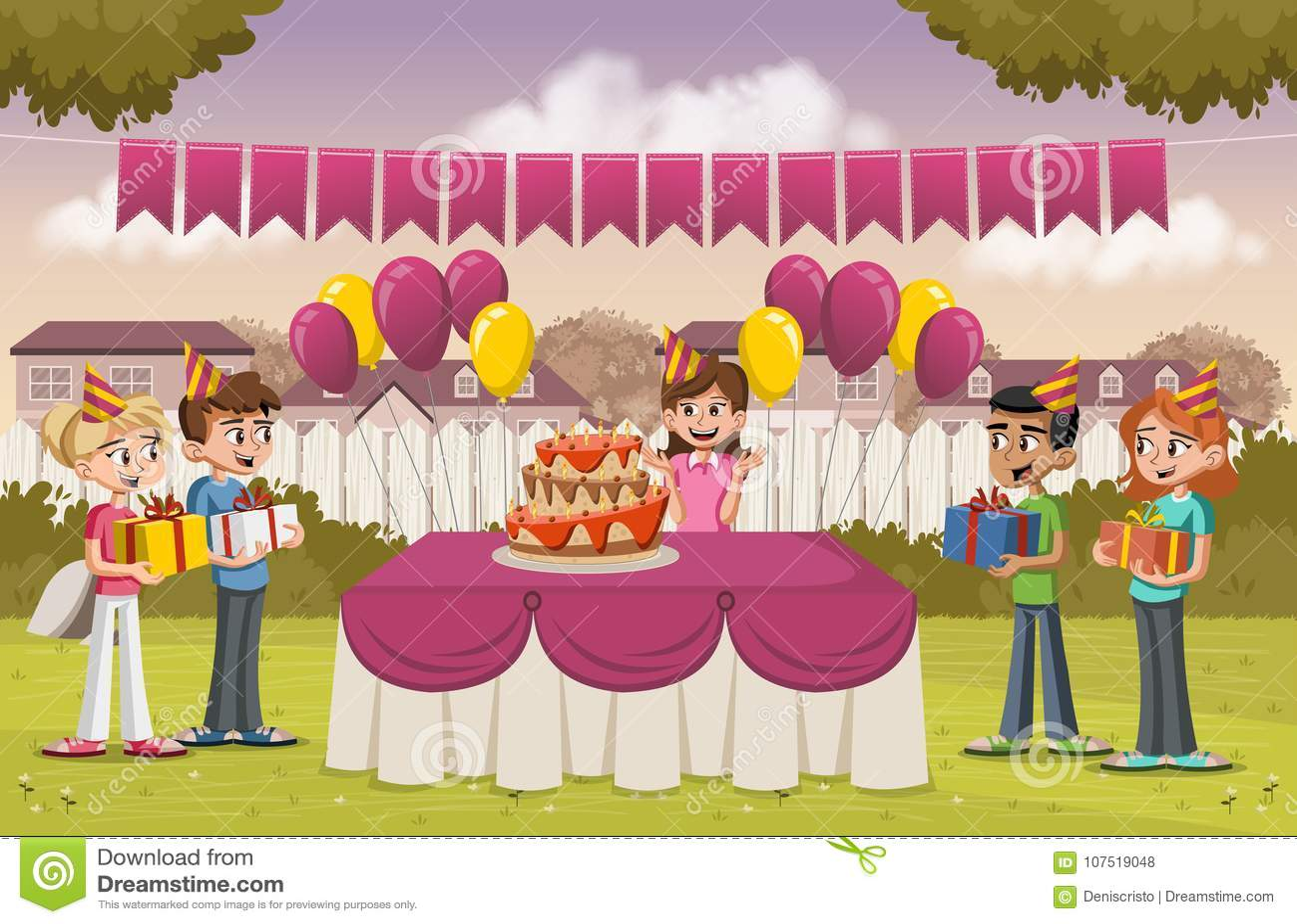 Tecknad filmflicka med hennes vänner på ett födelsedagparti i trädgården av ett färgrikt hus