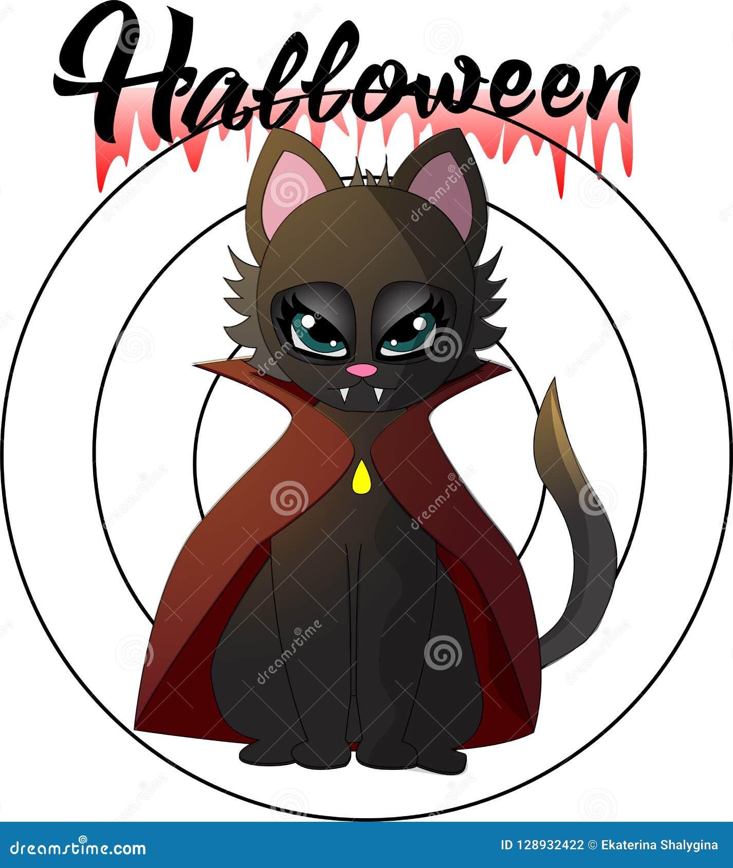 Tecknad filmillustration av en vampyrkattunge för en halloween