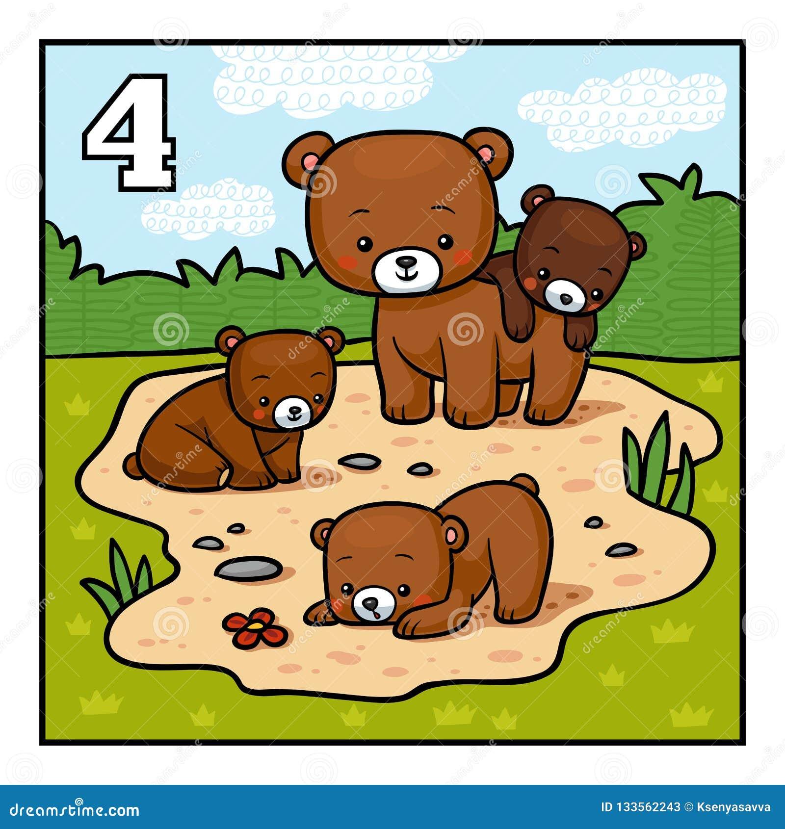 Tecknad filmillustration för barn Fyra björnar