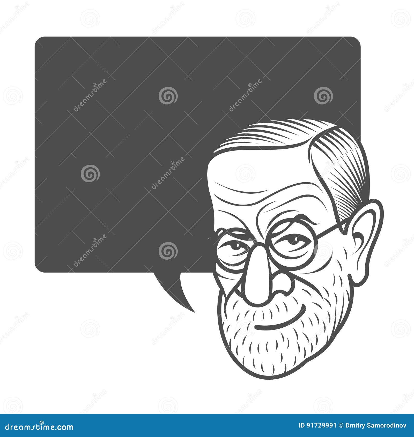 Tecknad filmkarikatyrstående av Sigmund Freud