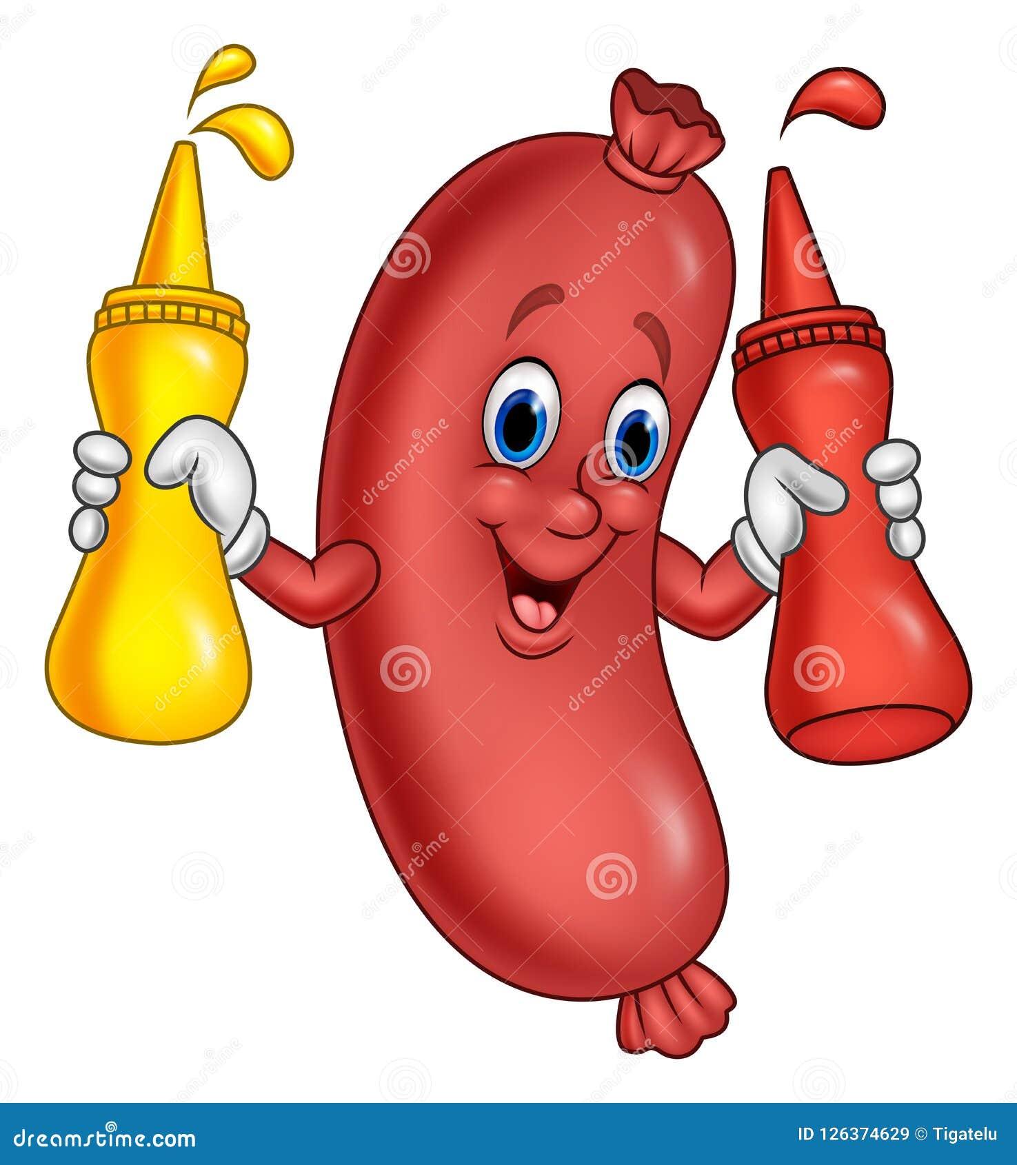Tecknad filmkorv med åtstramningflaskor för senapsgult sås och ketchup