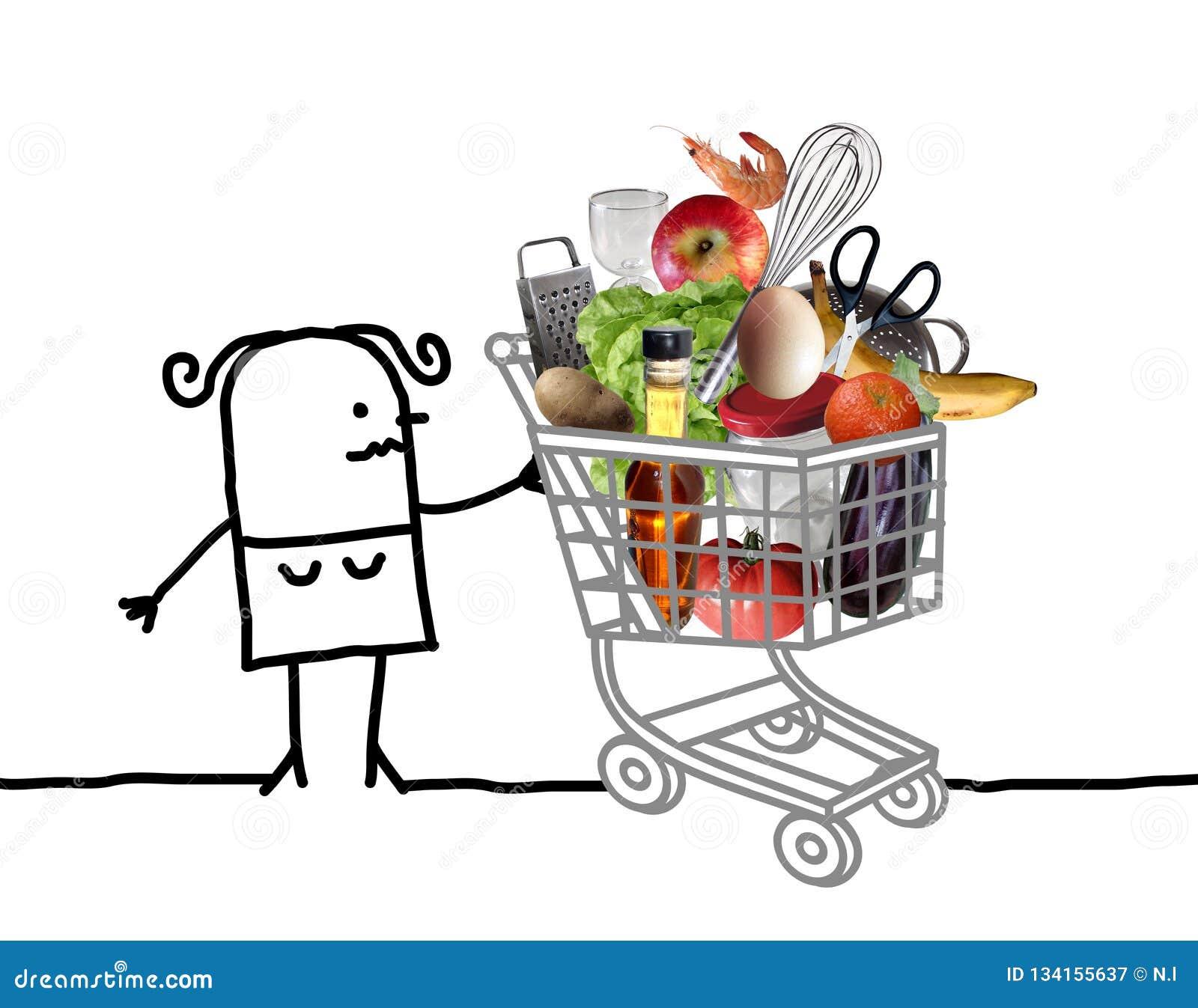Tecknad filmkvinna med den fulla shoppa vagnen