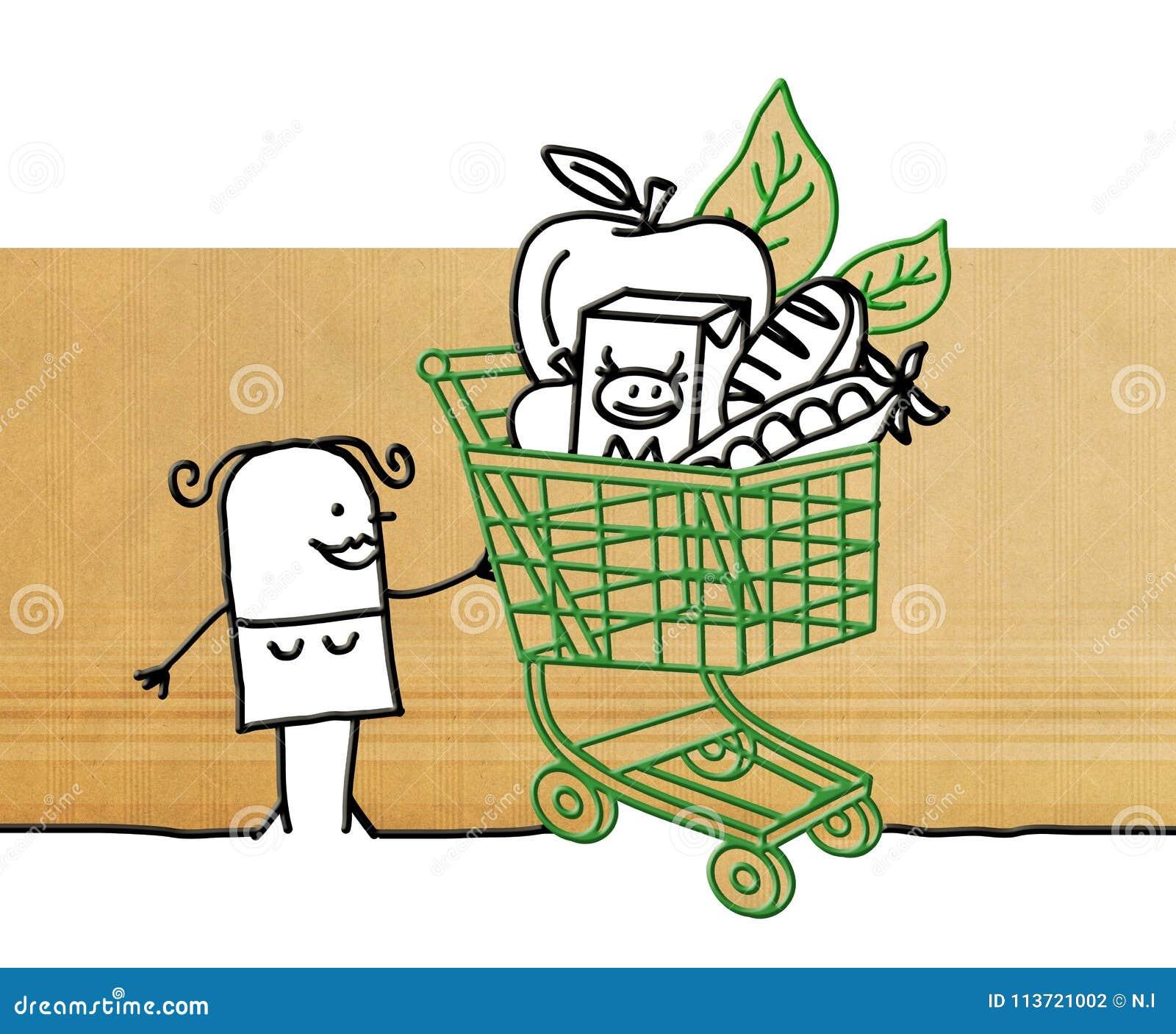 Tecknad filmkvinna med shoppingvagnen och mat