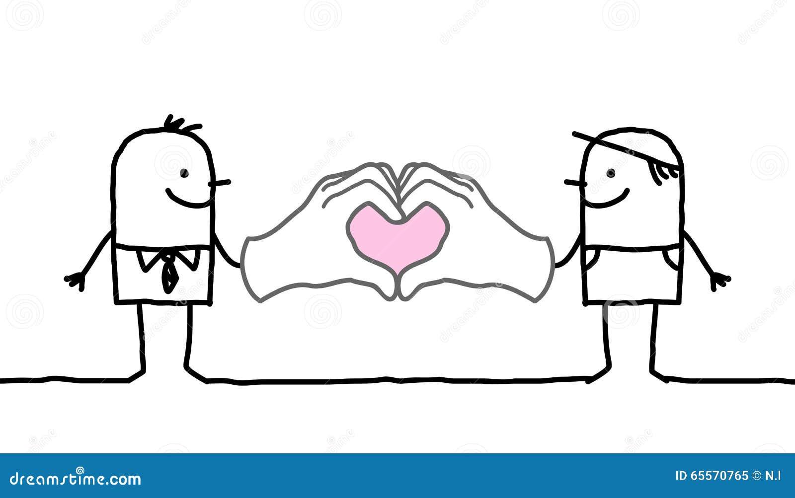 Tecknad filmmän som gör hjärta, undertecknar med deras händer