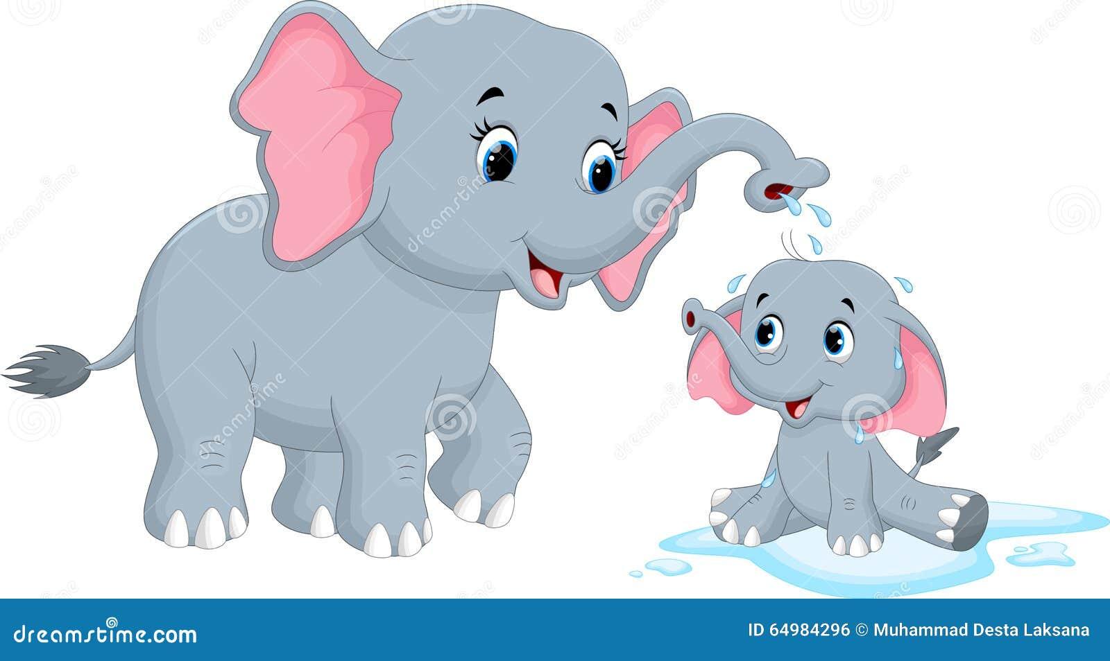 Tecknad filmmoderelefanter som badar hennes barn