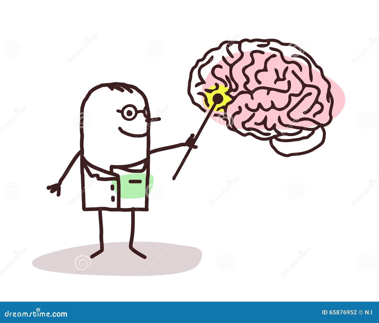 Tecknad filmneurolog med hjärnan