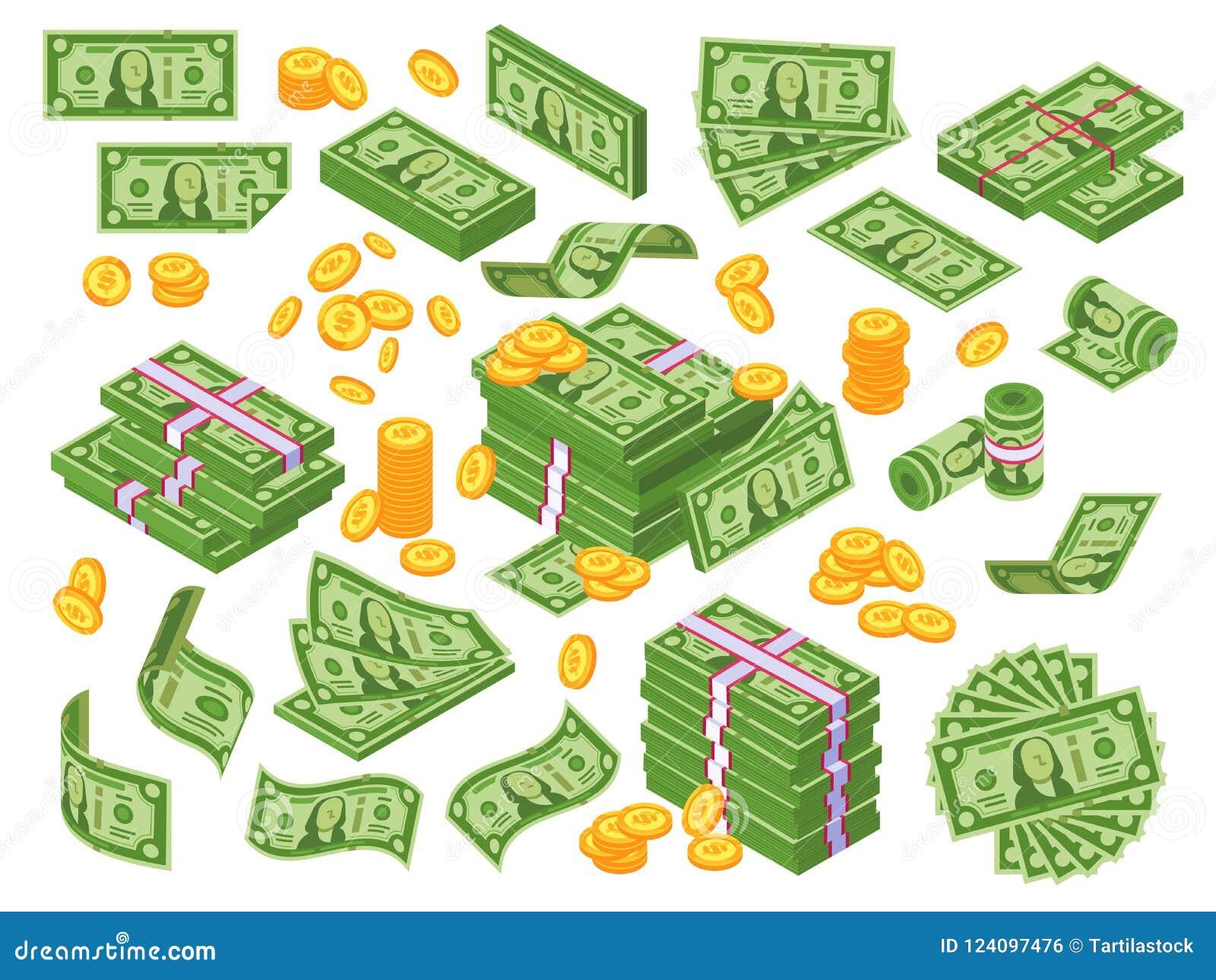 Tecknad filmpengar Sedlar för dollarräkningar staplar, högen av dollar och sedelhögen Kassa traver vektorillustrationuppsättninge