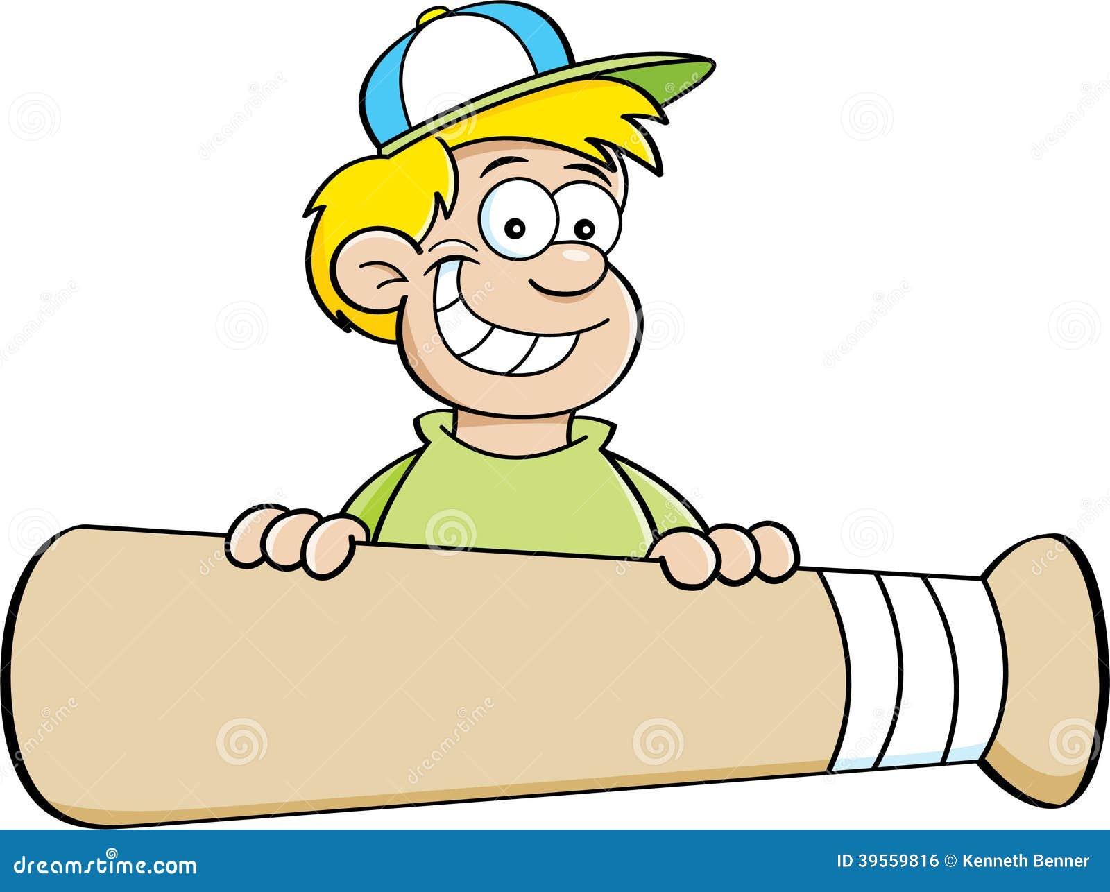 Tecknad filmpojke med ett baner för baseballslagträ.