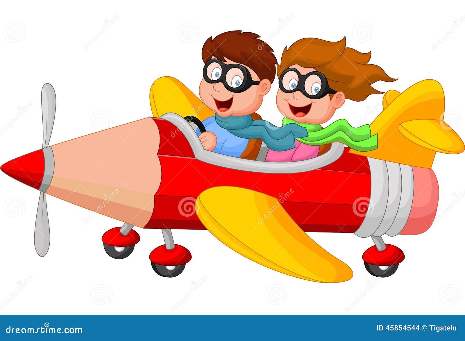 Tecknad filmpojke och flicka på ett blyertspennaflygplan