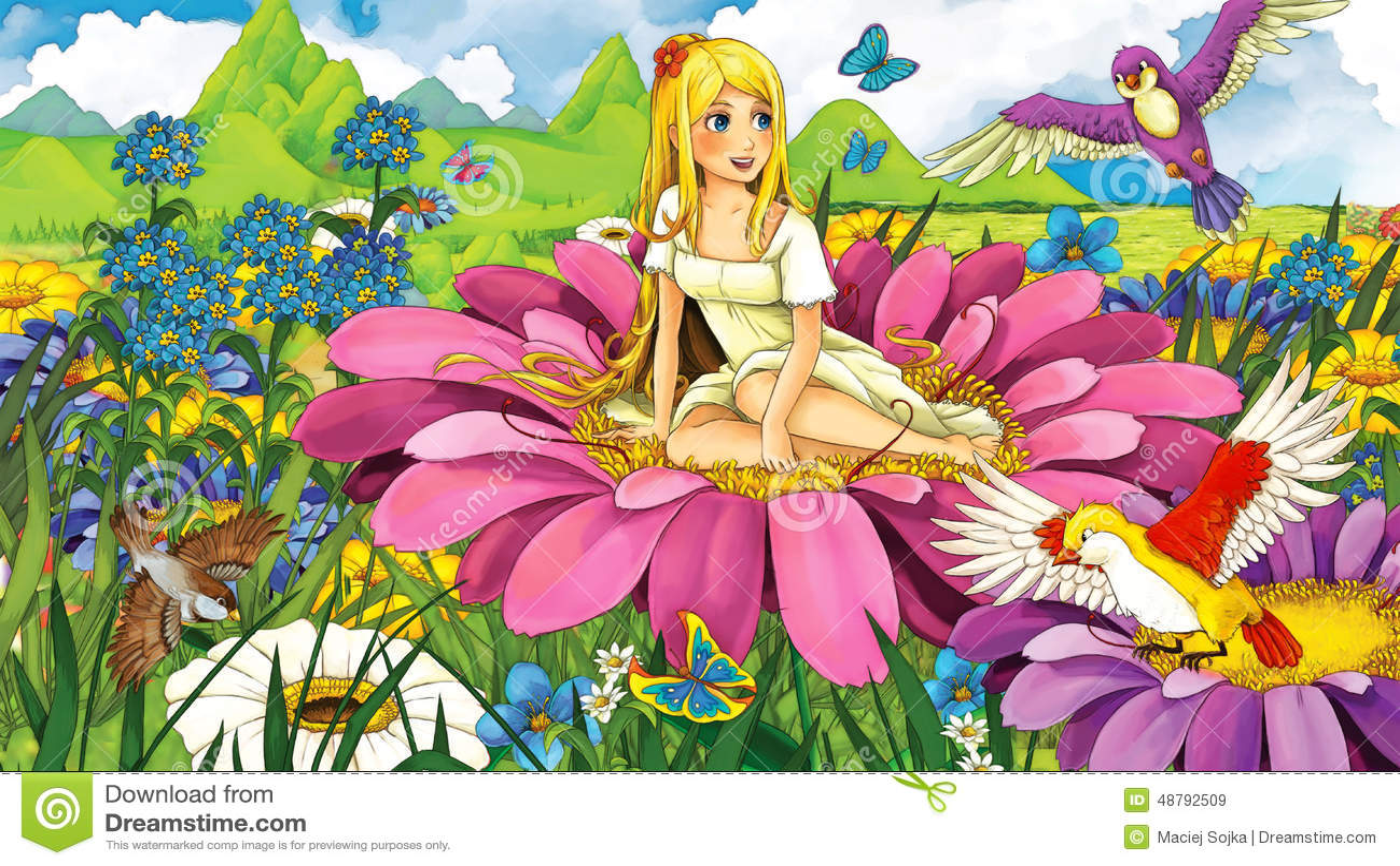 Tecknad filmsagaplats - illustration för barnen