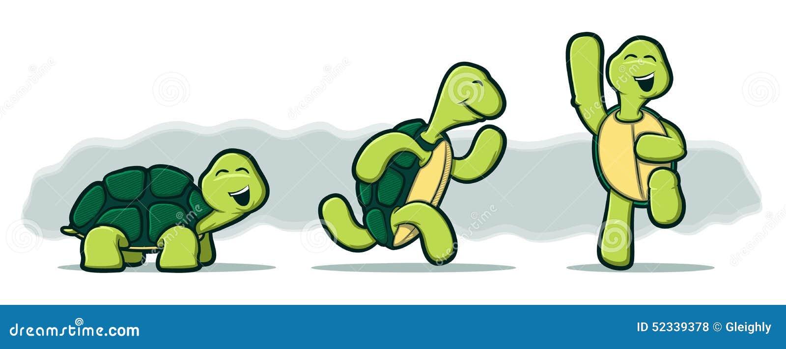 Tecknad filmsköldpaddor på vit bakgrund