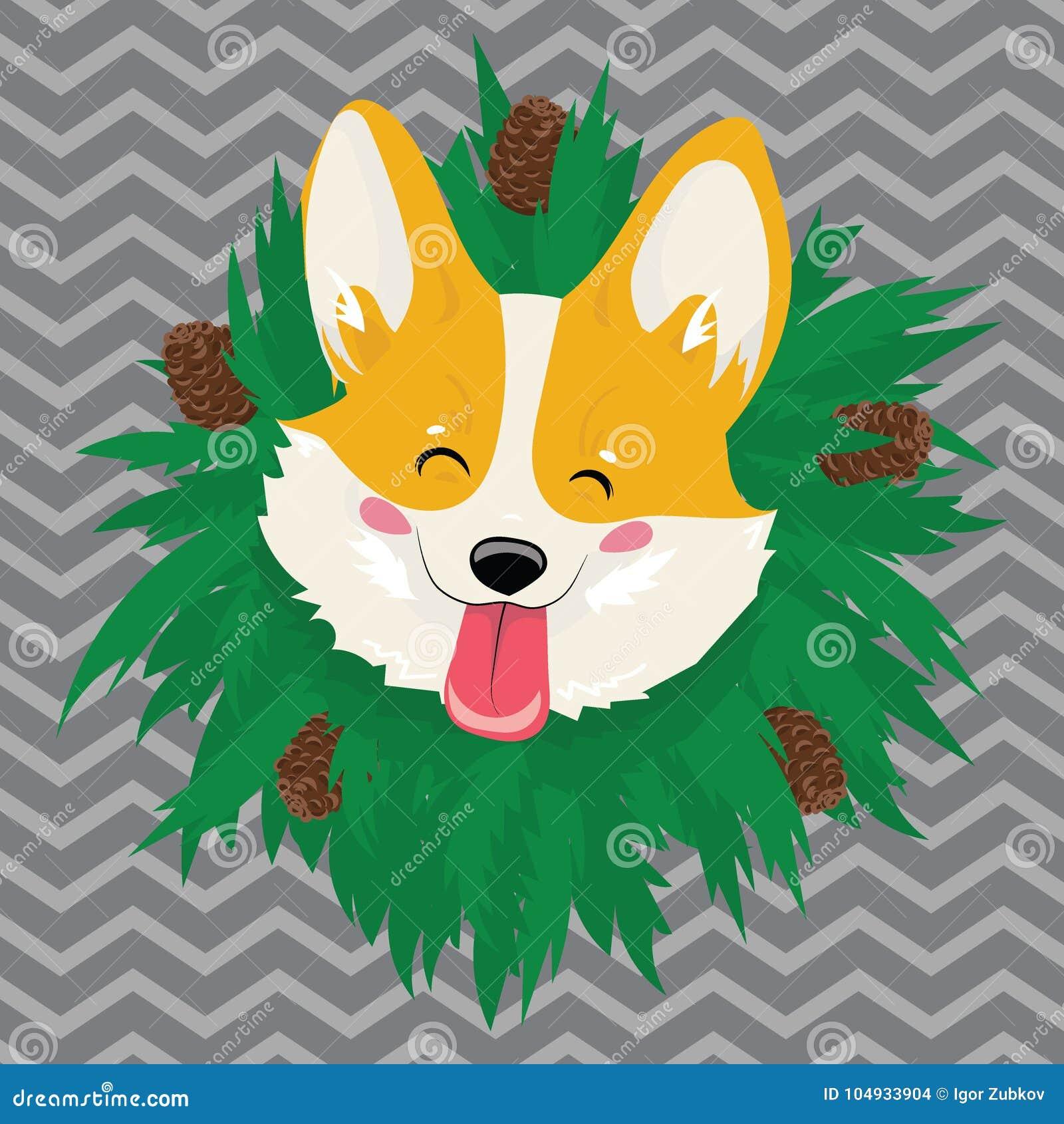 Tecknad filmstående av en hund med en krans Gullig hund för jul Symbolet av året Vektorillustration för en hälsning