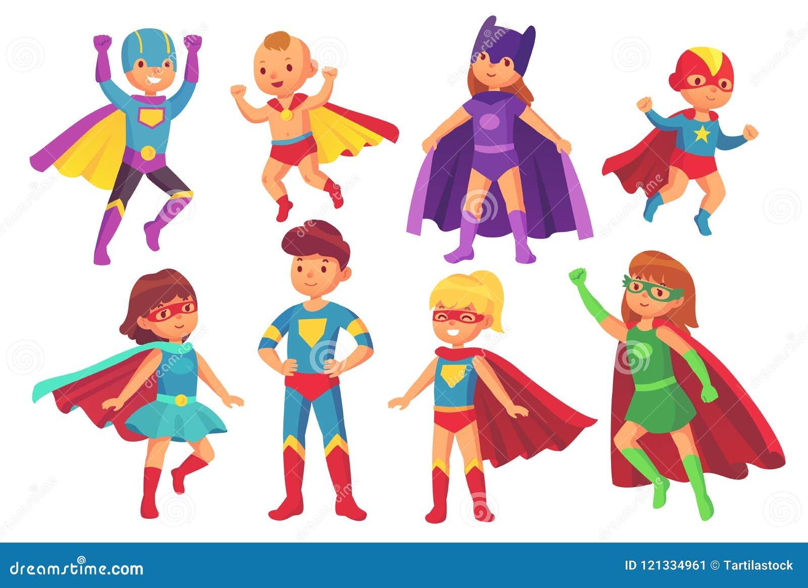 Tecknad filmsuperheroen lurar tecken Glad unge som bär dräkten för toppen hjälte med maskeringen och kappan Barnsuperheroes