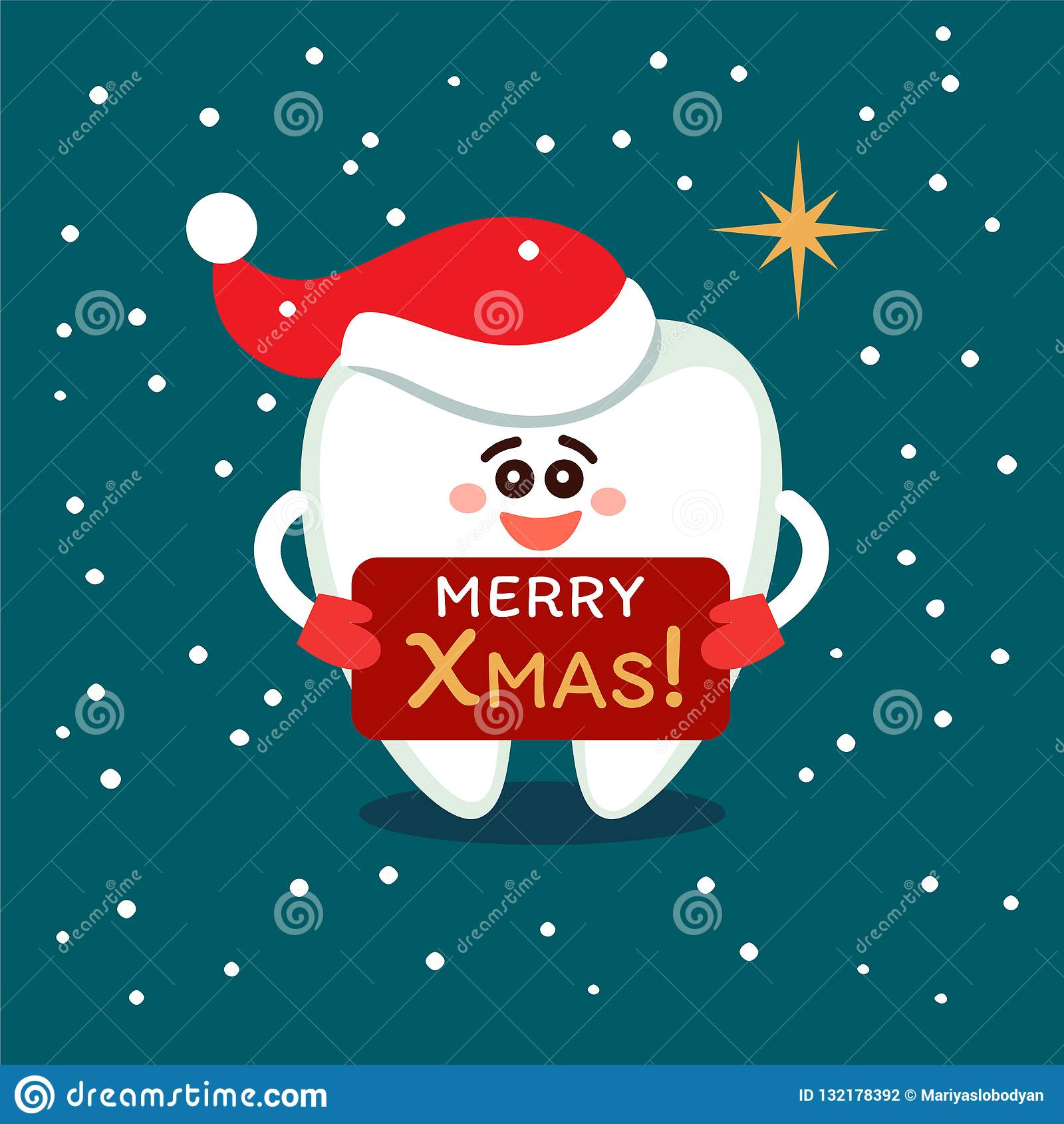 Tecknad filmtand i jultomtenhatt Glad jul från tandläkekonst