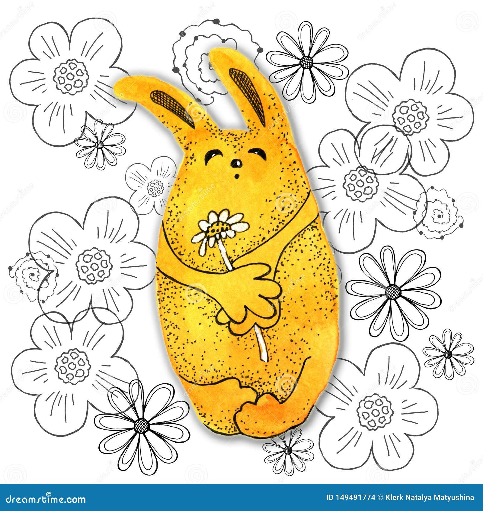 Tecknad filmtecken i kawaiistil med bilden av en hare p? en abstrakt bakgrund Designtapet, tryck, r?kningar, f?rgl?ggning