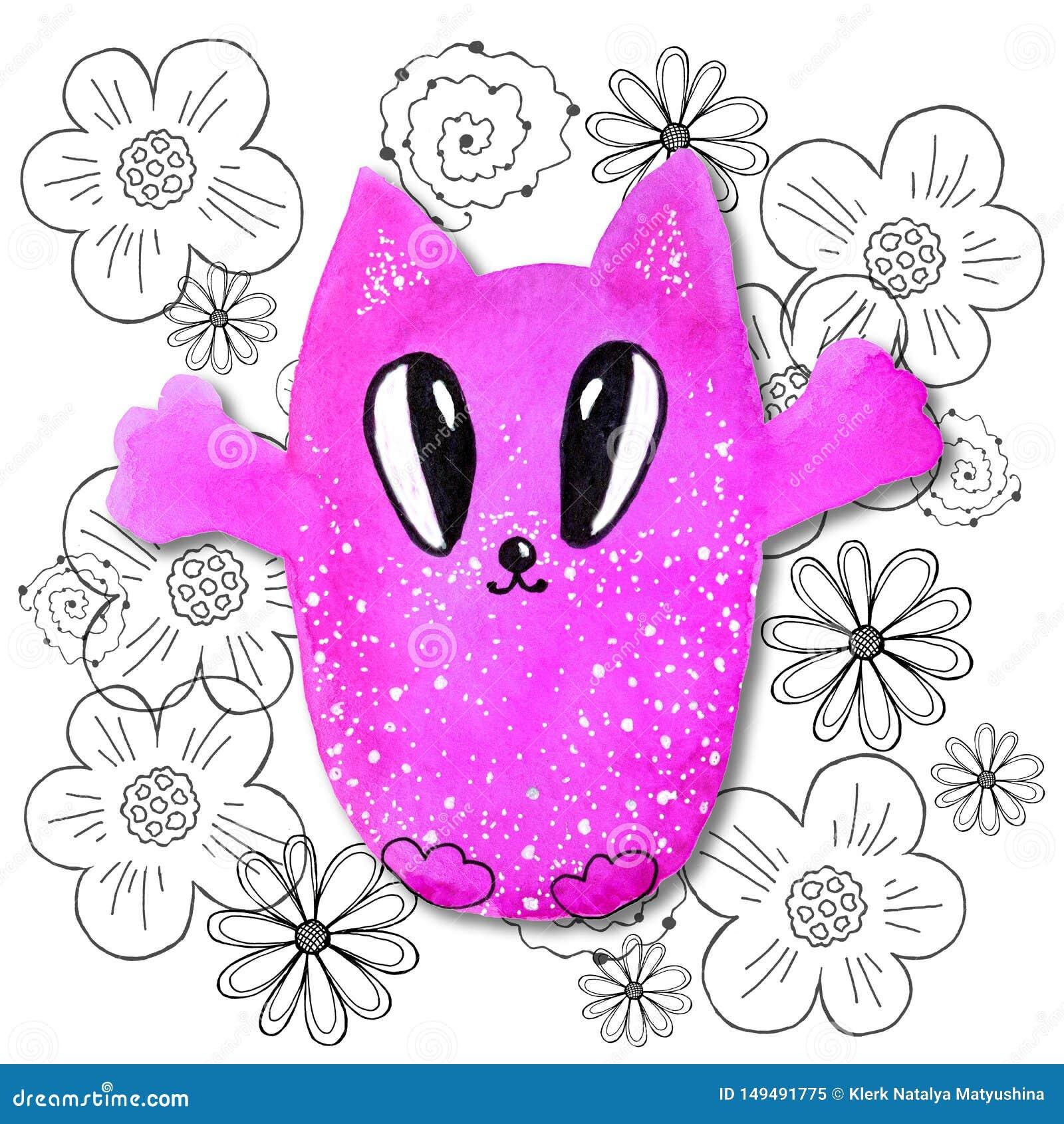 Tecknad filmtecken i kawaiistil med bilden av en katt p? en abstrakt bakgrund Designtapet, tryck, r?kningar, f?rgl?ggning,