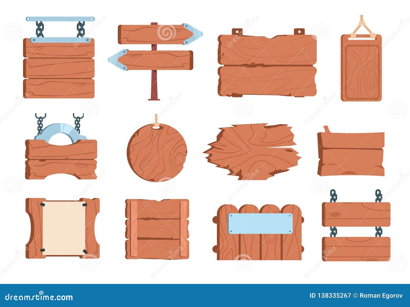 Tecknad filmträskylt Vägvisare för bräden för tappning för träplanka för baner för teckenbräderam gamla Vektorlek