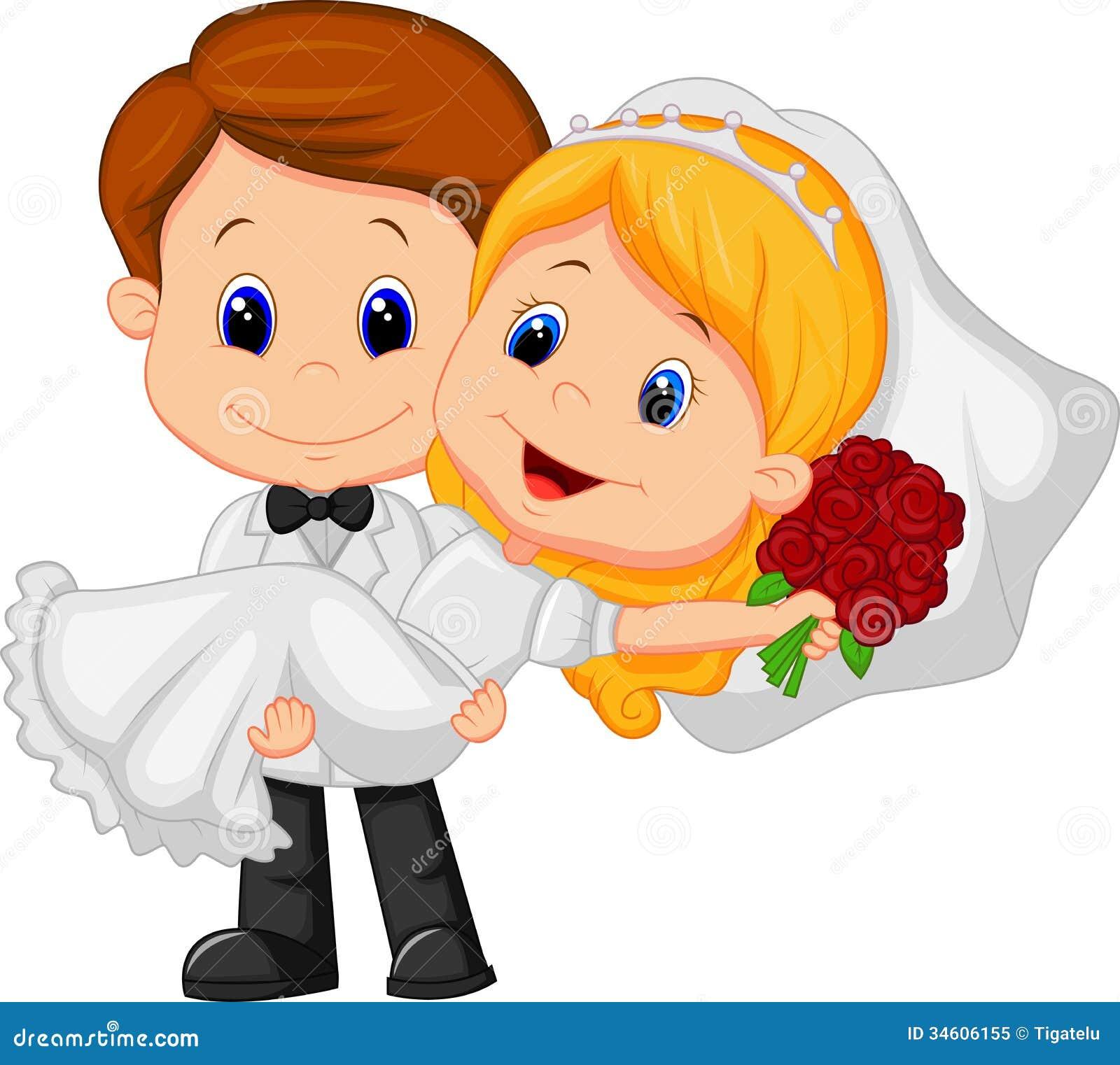 Tecknad filmungar som spelar bruden och brudgummen