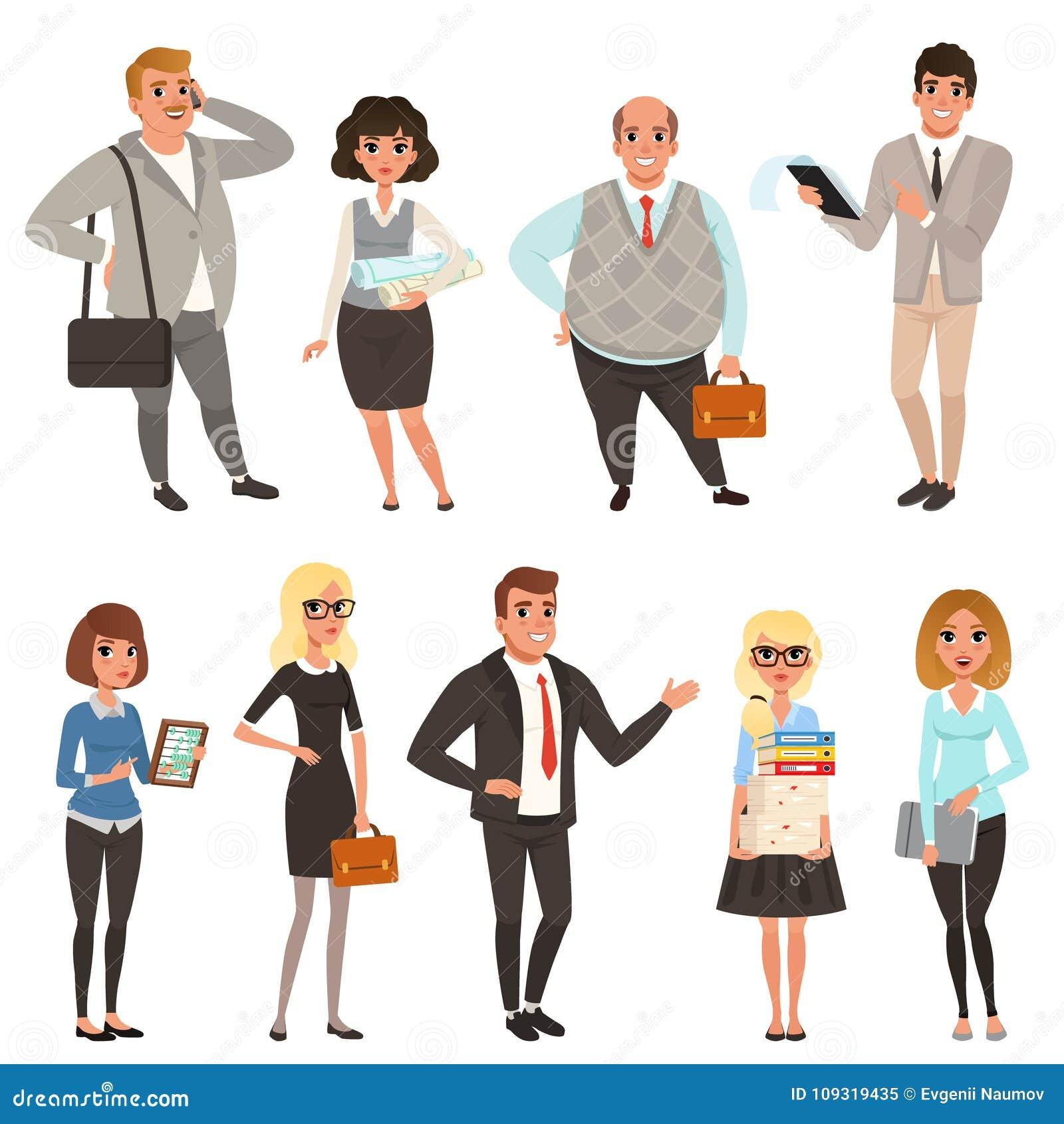 Tecknad filmuppsättning av kontorschefer och arbetare i olika lägen vektor för folk för affärsillustrationjpg Man- och kvinnateck