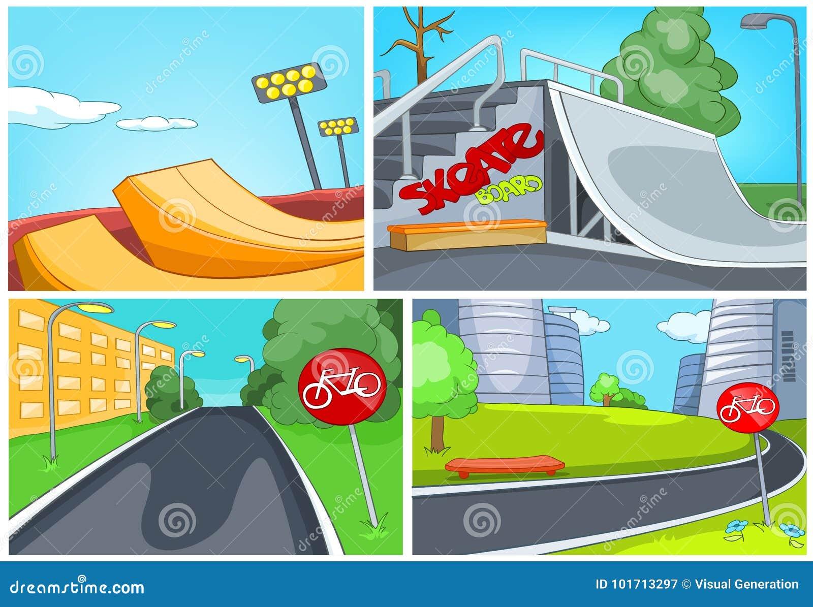 Tecknad filmuppsättning av skatepark- och cykelgrändbakgrunder