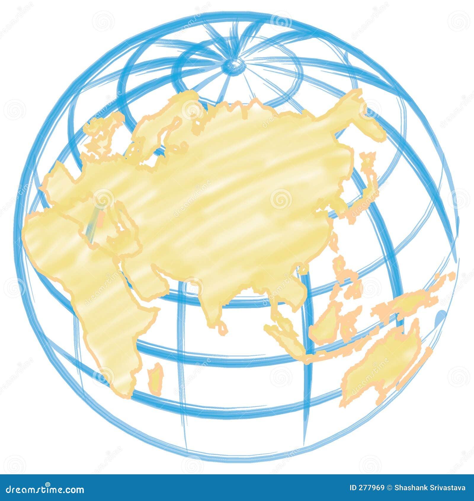 Tecknad jordklothandillustration