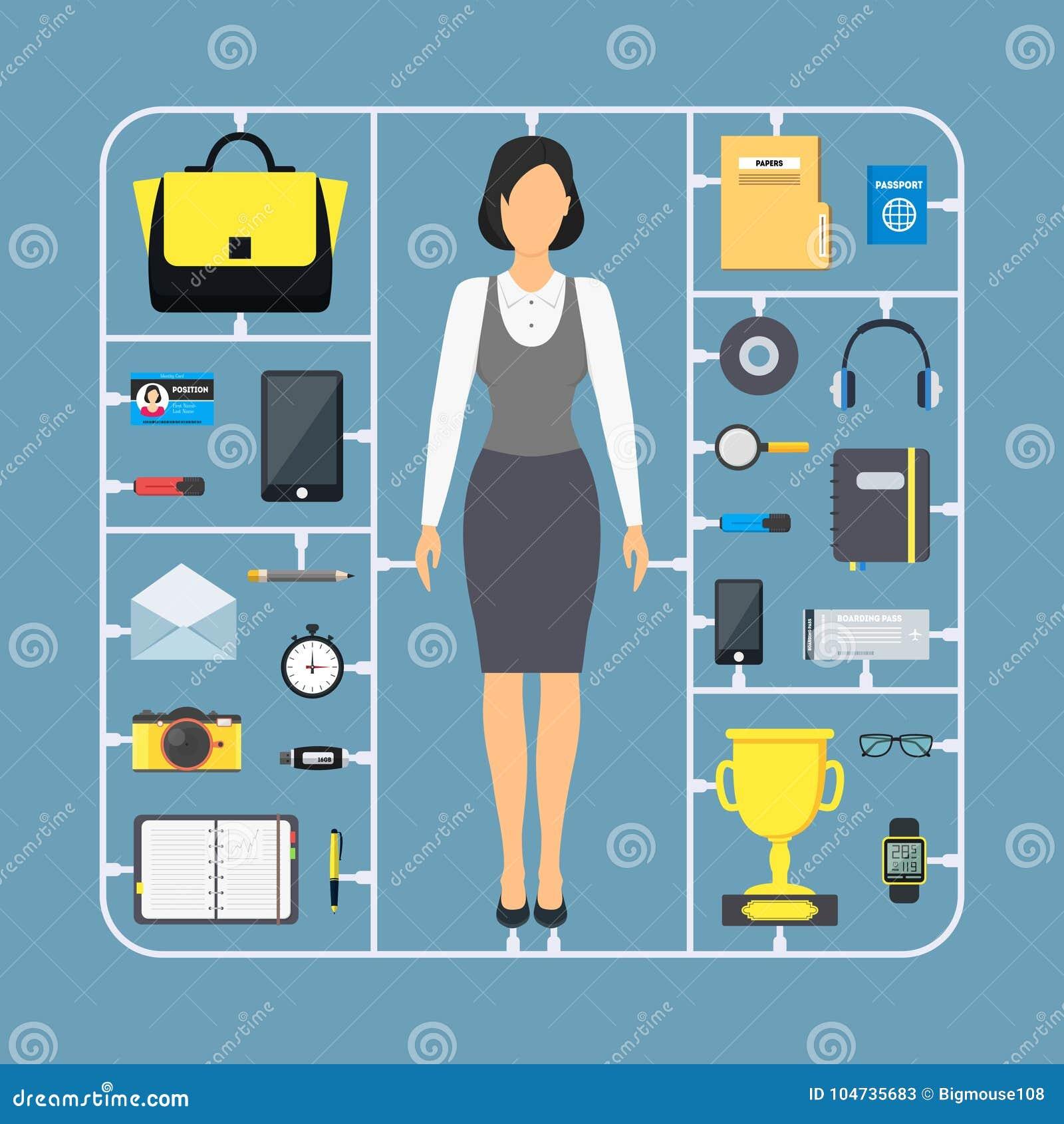 Tecknade filmen monterar affärskvinnan Color Icon Set vektor