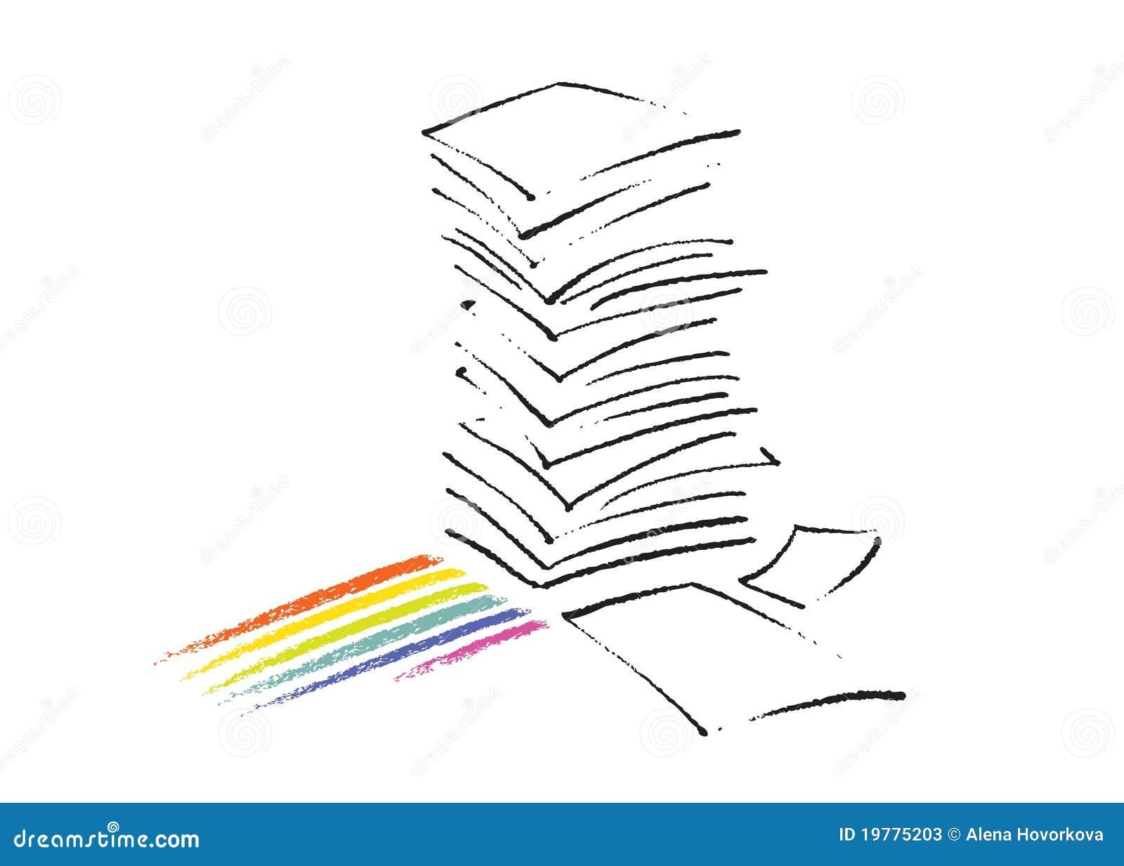Tecknande frihandssymbol för paper bunt